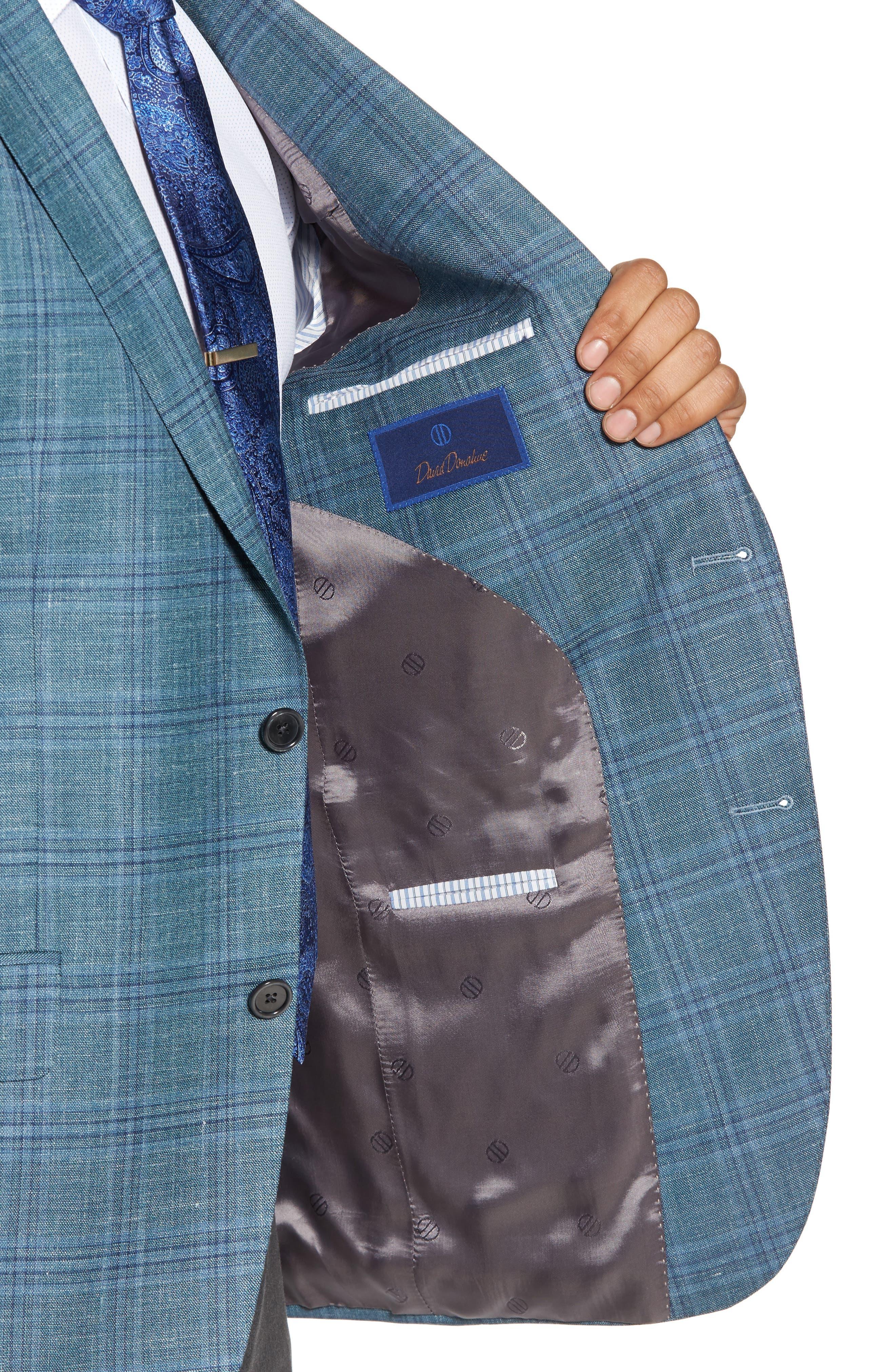 Ashton Classic Fit Stretch Plaid Wool Blend Sport Coat,                             Alternate thumbnail 4, color,                             Green