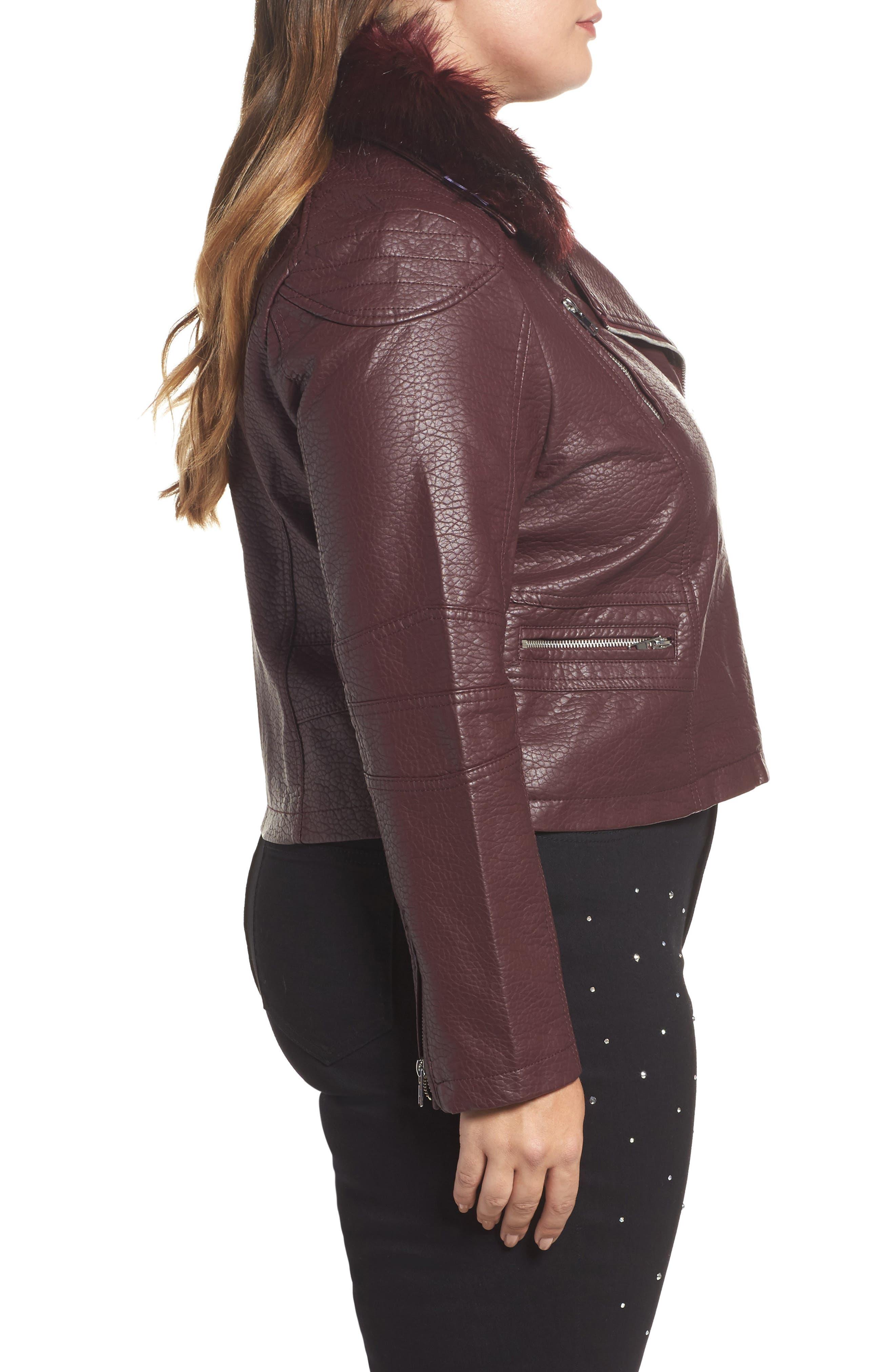 Alternate Image 3  - LOST INK Faux Fur Trim Moto Jacket (Plus Size)