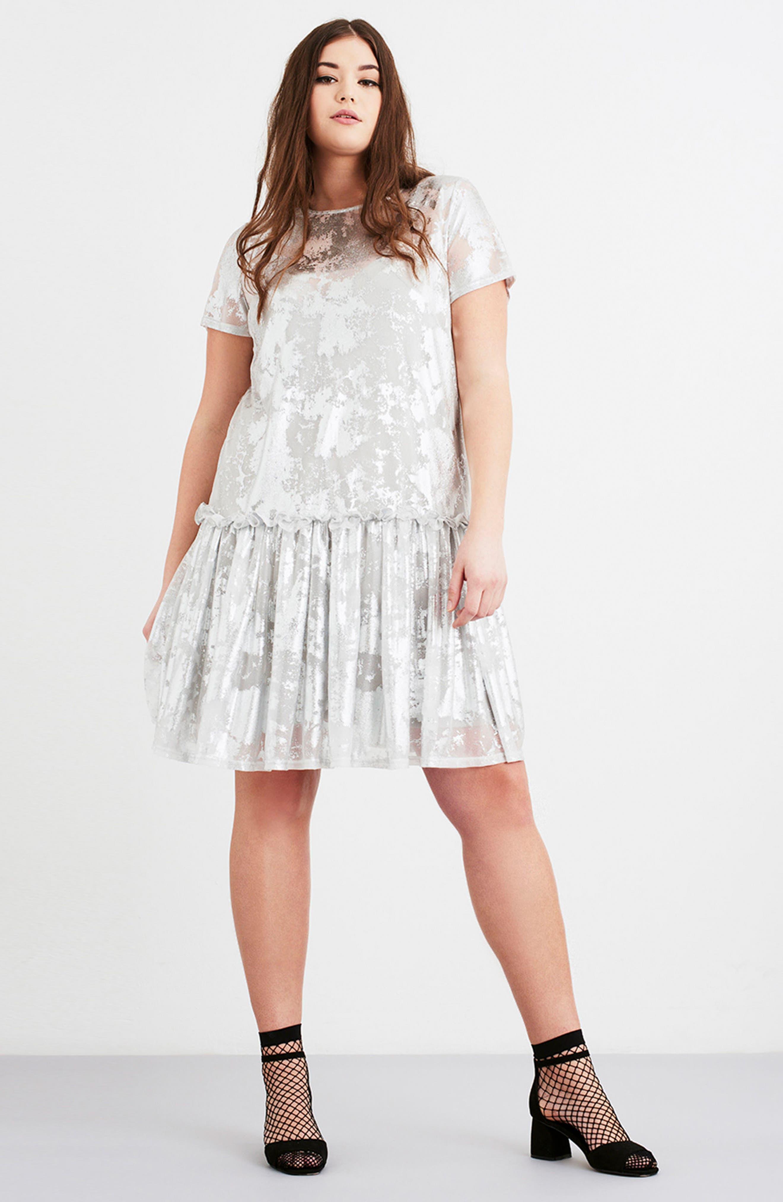 Metallic Swing Dress,                             Alternate thumbnail 2, color,                             Silver