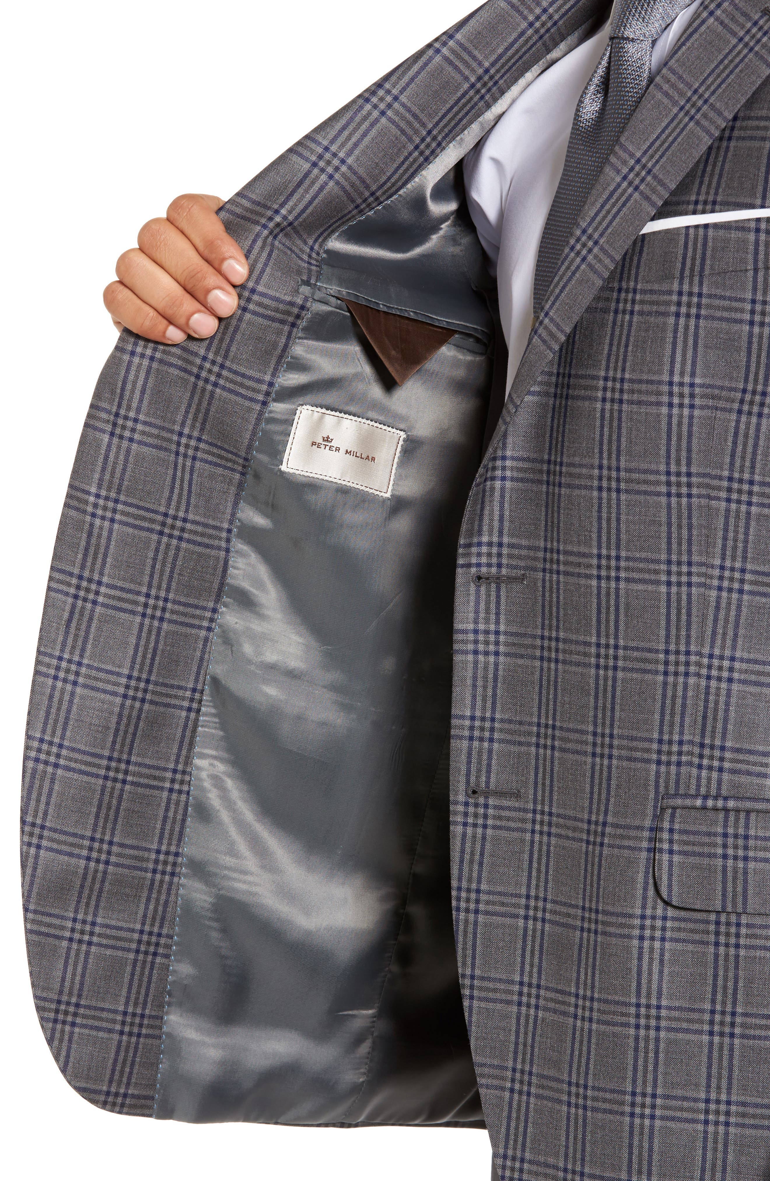 Classic Fit Plaid Wool Sport Coat,                             Alternate thumbnail 4, color,                             Grey