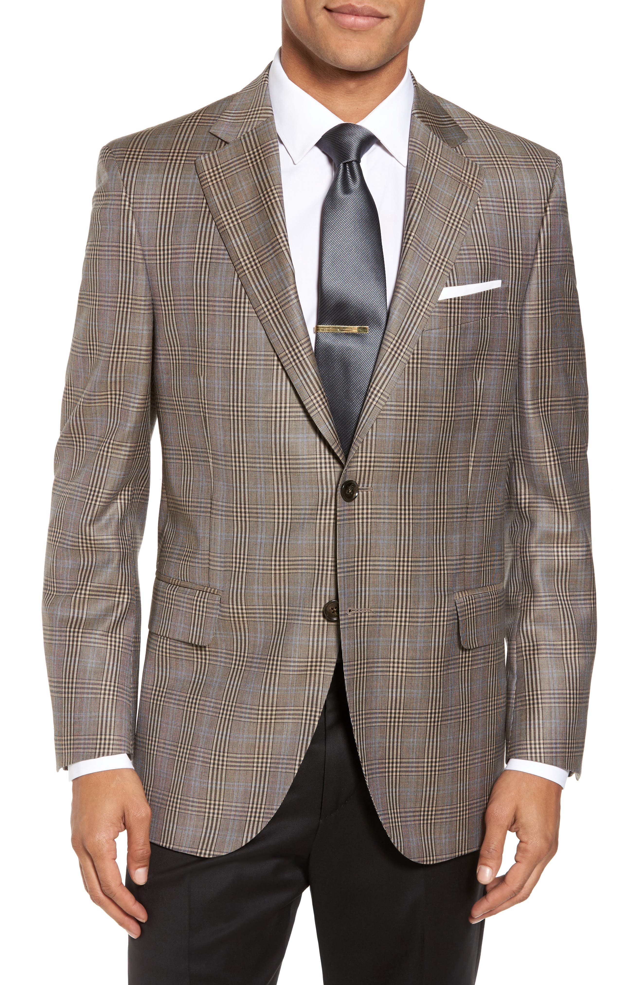 Classic Fit Plaid Wool Sport Coat,                             Main thumbnail 1, color,                             Tan
