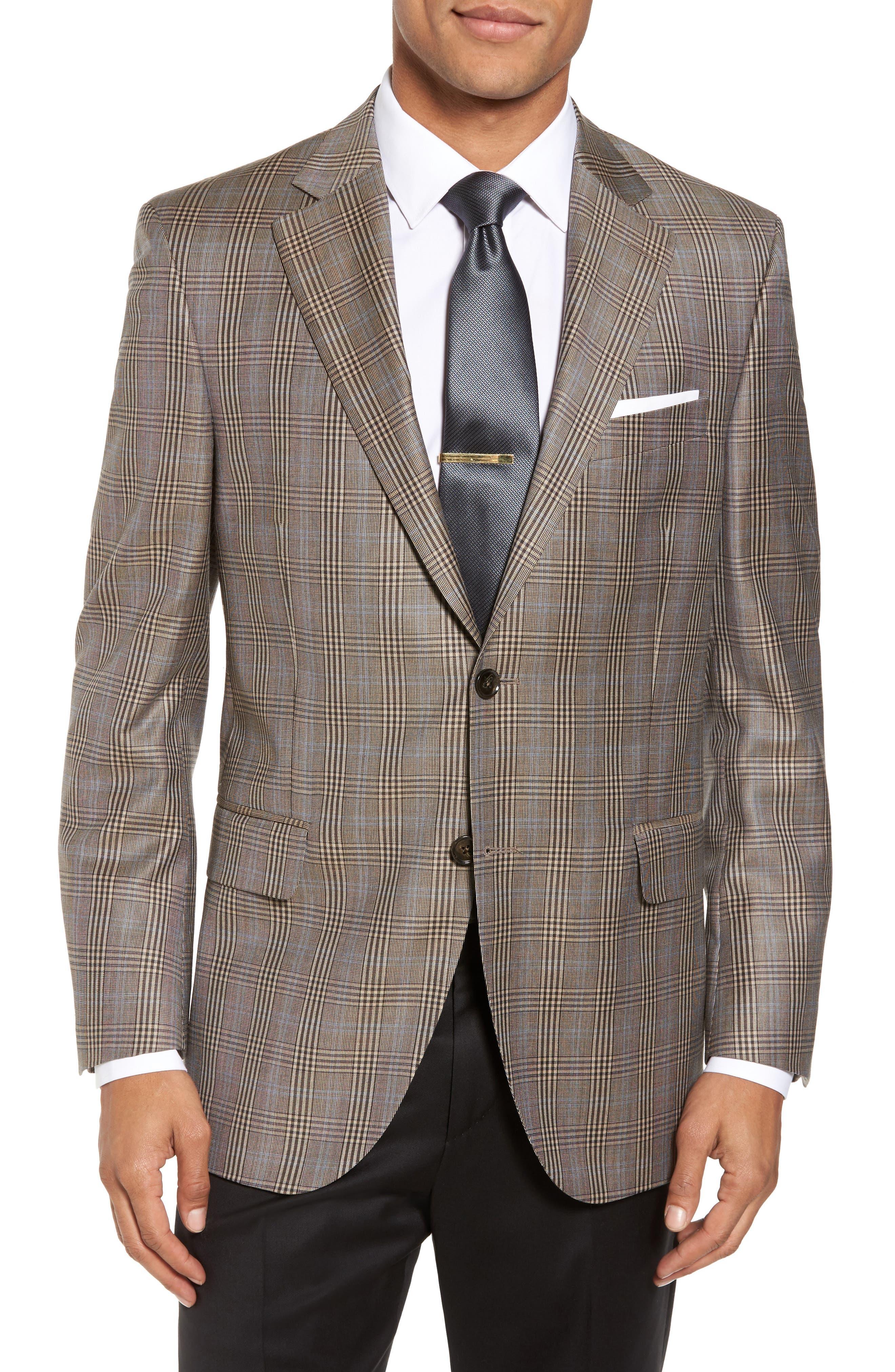 Classic Fit Plaid Wool Sport Coat,                         Main,                         color, Tan