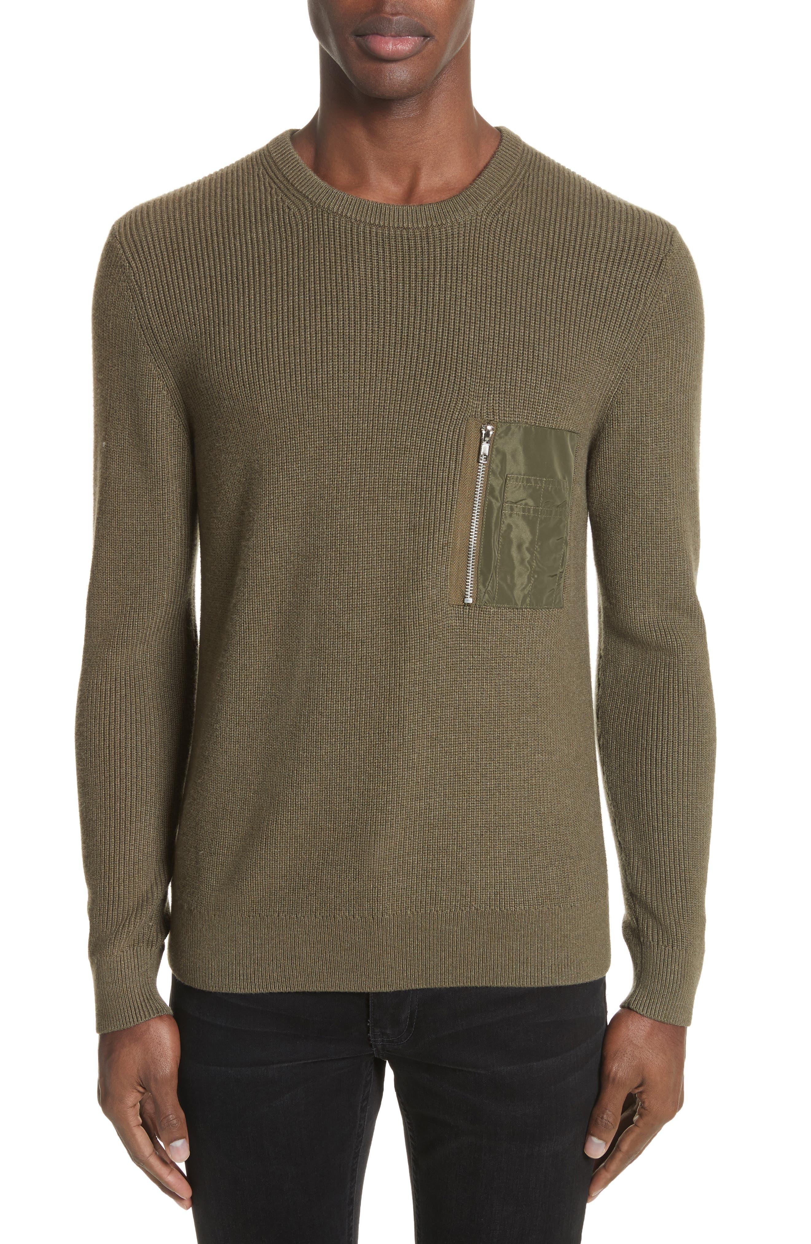 Crewneck Cotton Blend Sweater,                             Main thumbnail 1, color,                             Green