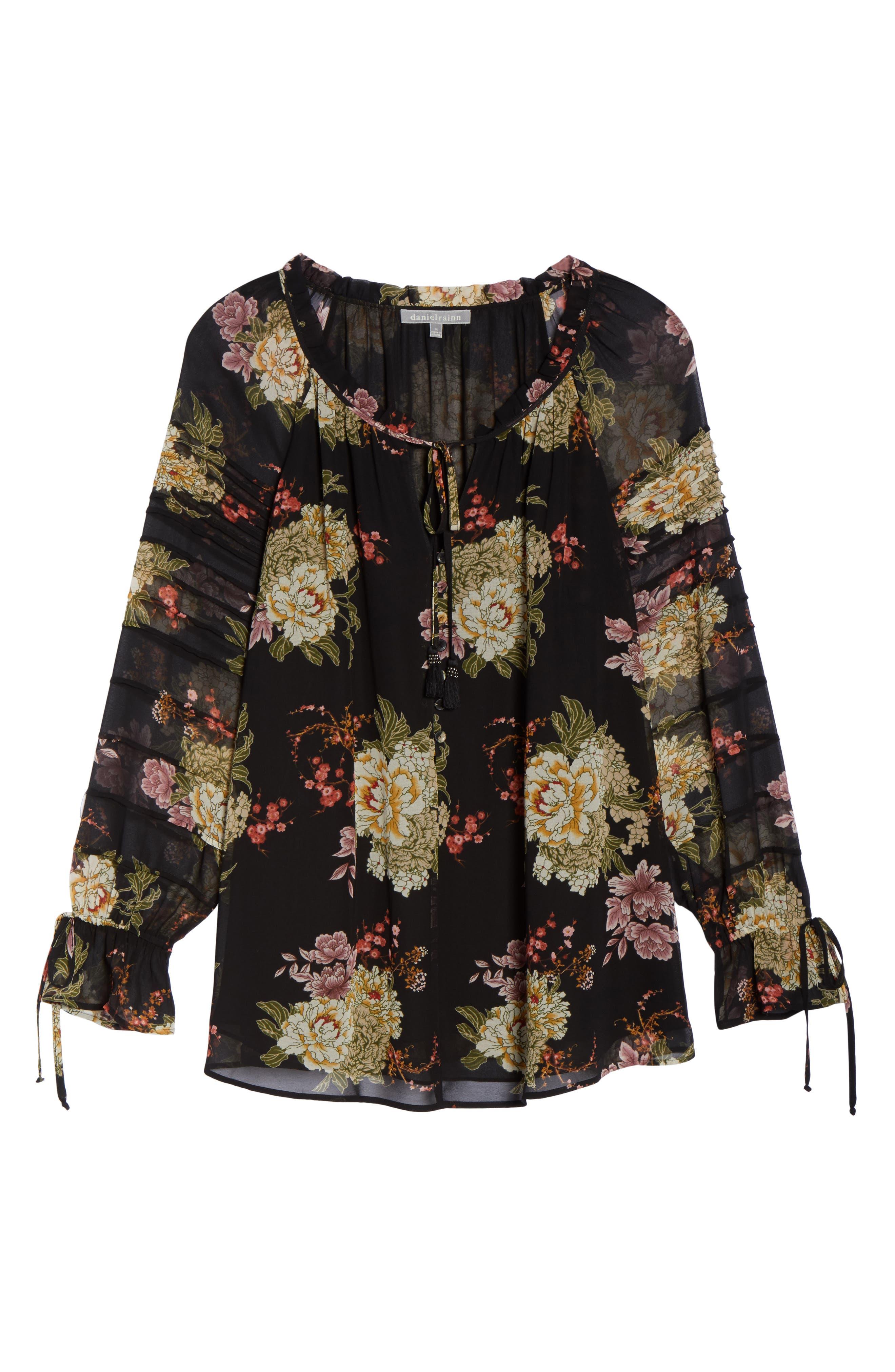 Alternate Image 6  - Daniel Rainn Floral Georgette Split Neck Blouse (Plus Size)