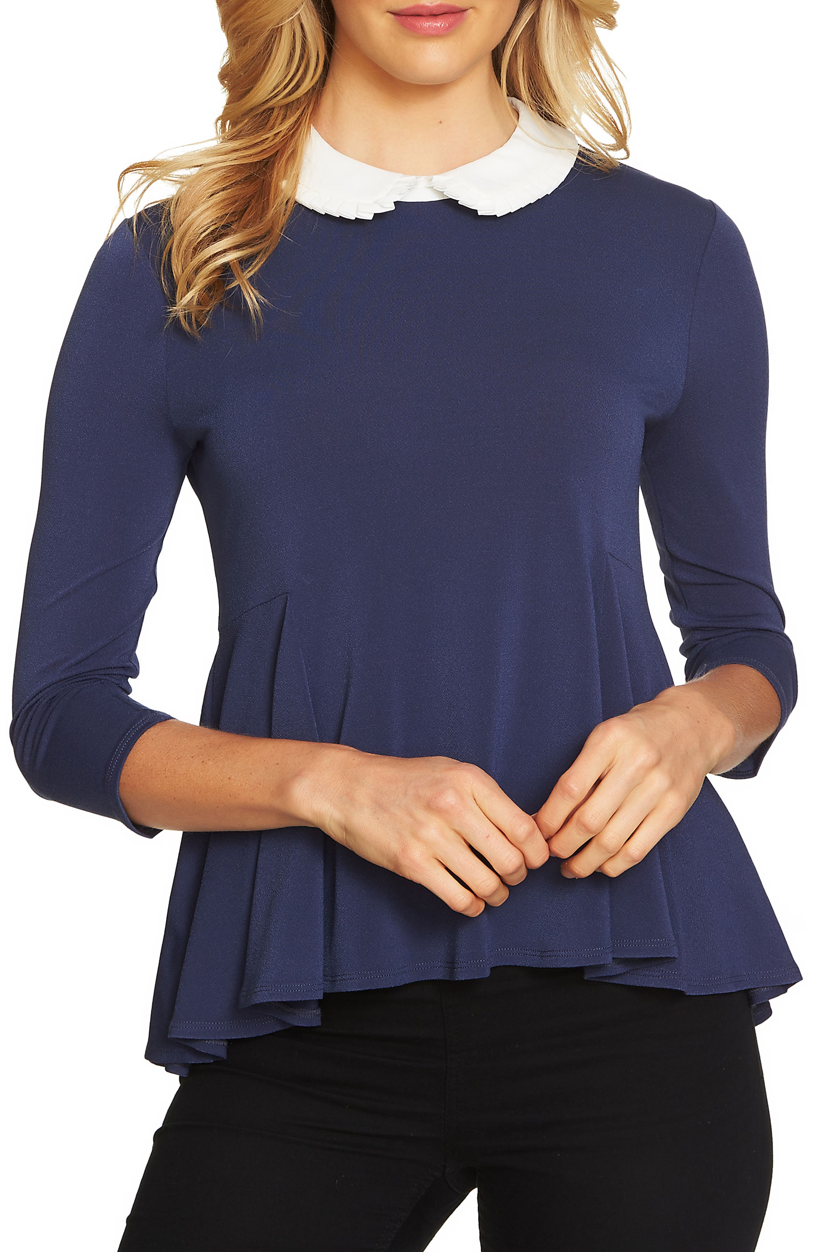 Main Image - CeCe Pleat Collar Swing Knit Top