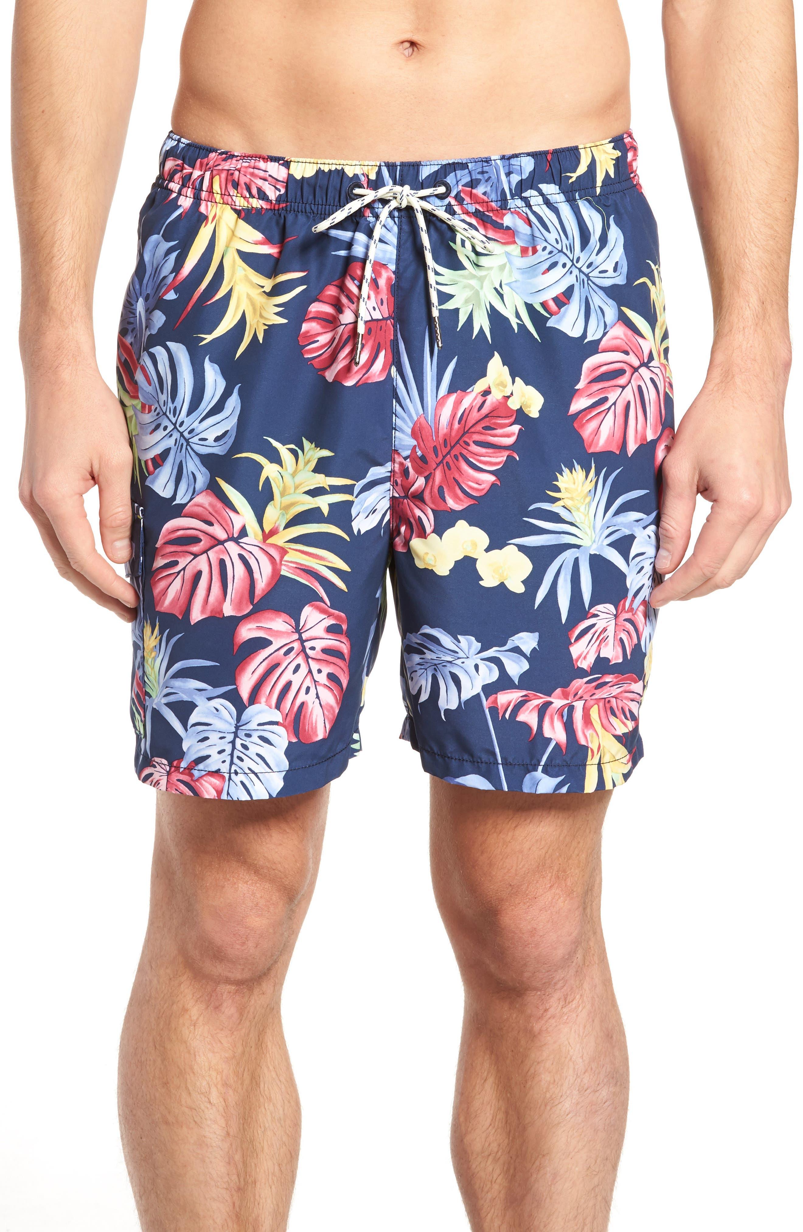 Naples Bogart Blooms Swim Trunks,                         Main,                         color, Ocean Deep