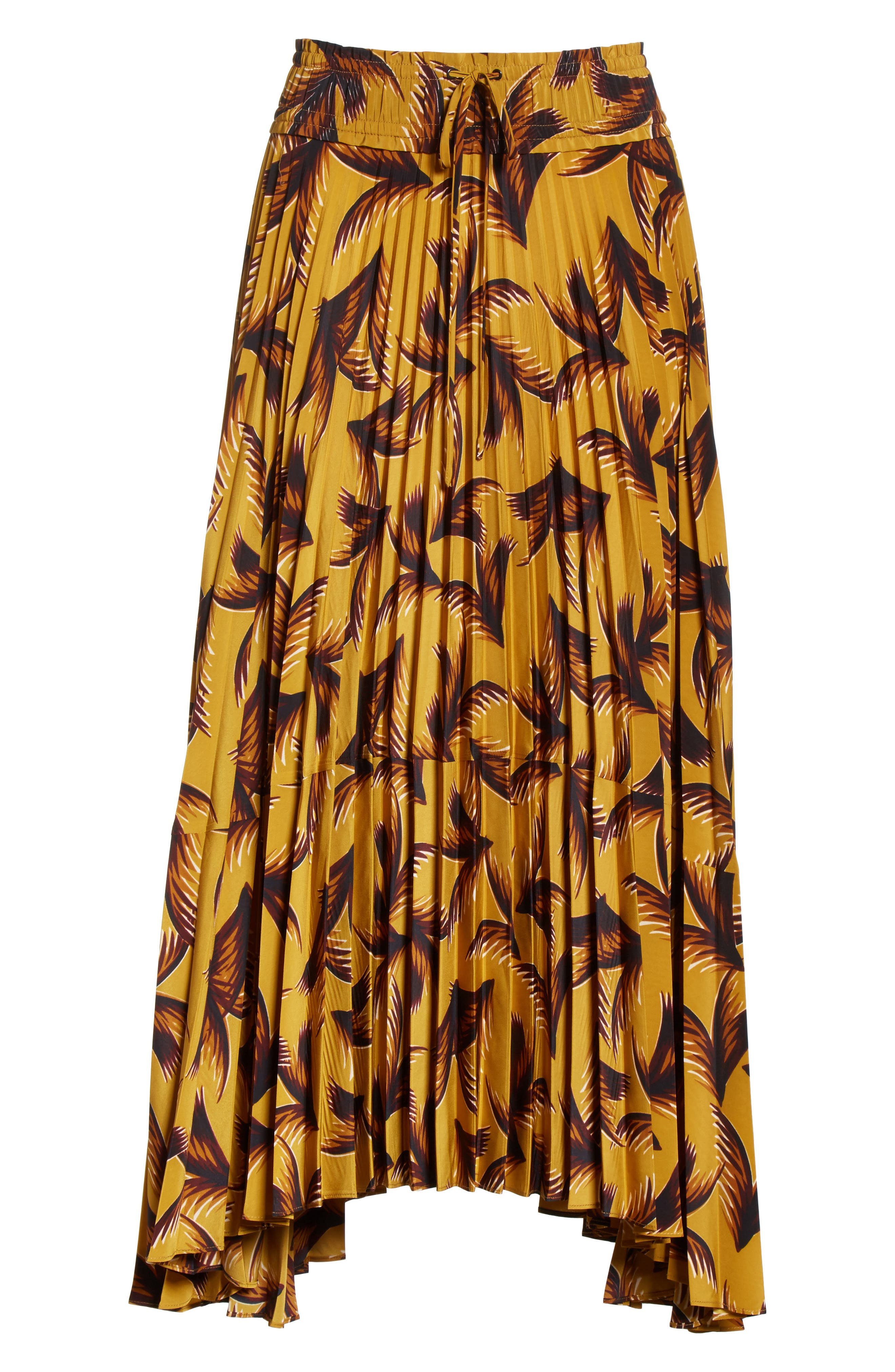 Maya Pleated A-Line Skirt,                             Alternate thumbnail 7, color,                             Gold