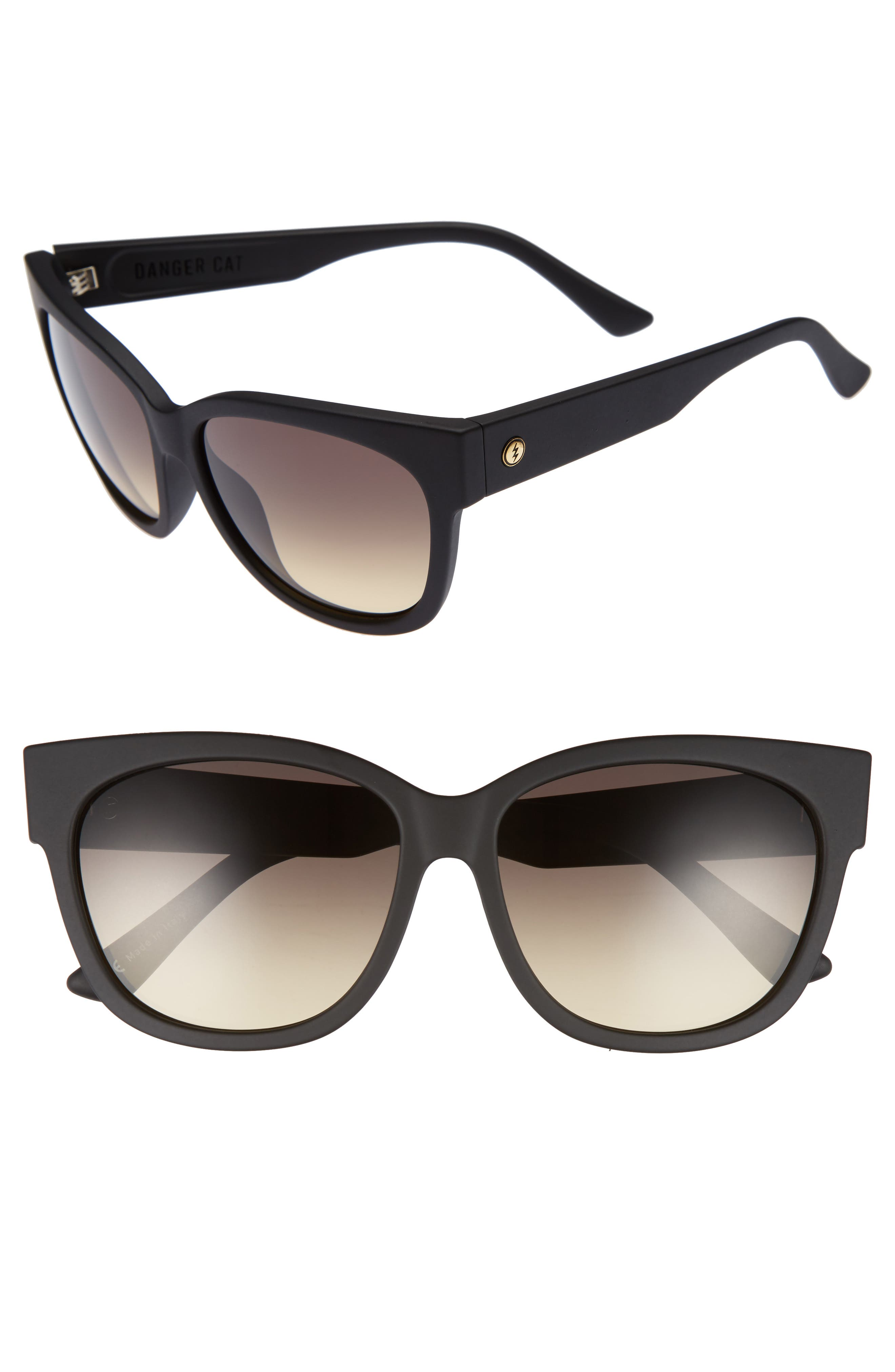 'Danger Cat' 58mm Cat Eye Sunglasses,                         Main,                         color, Matte Black/ Black Gradient
