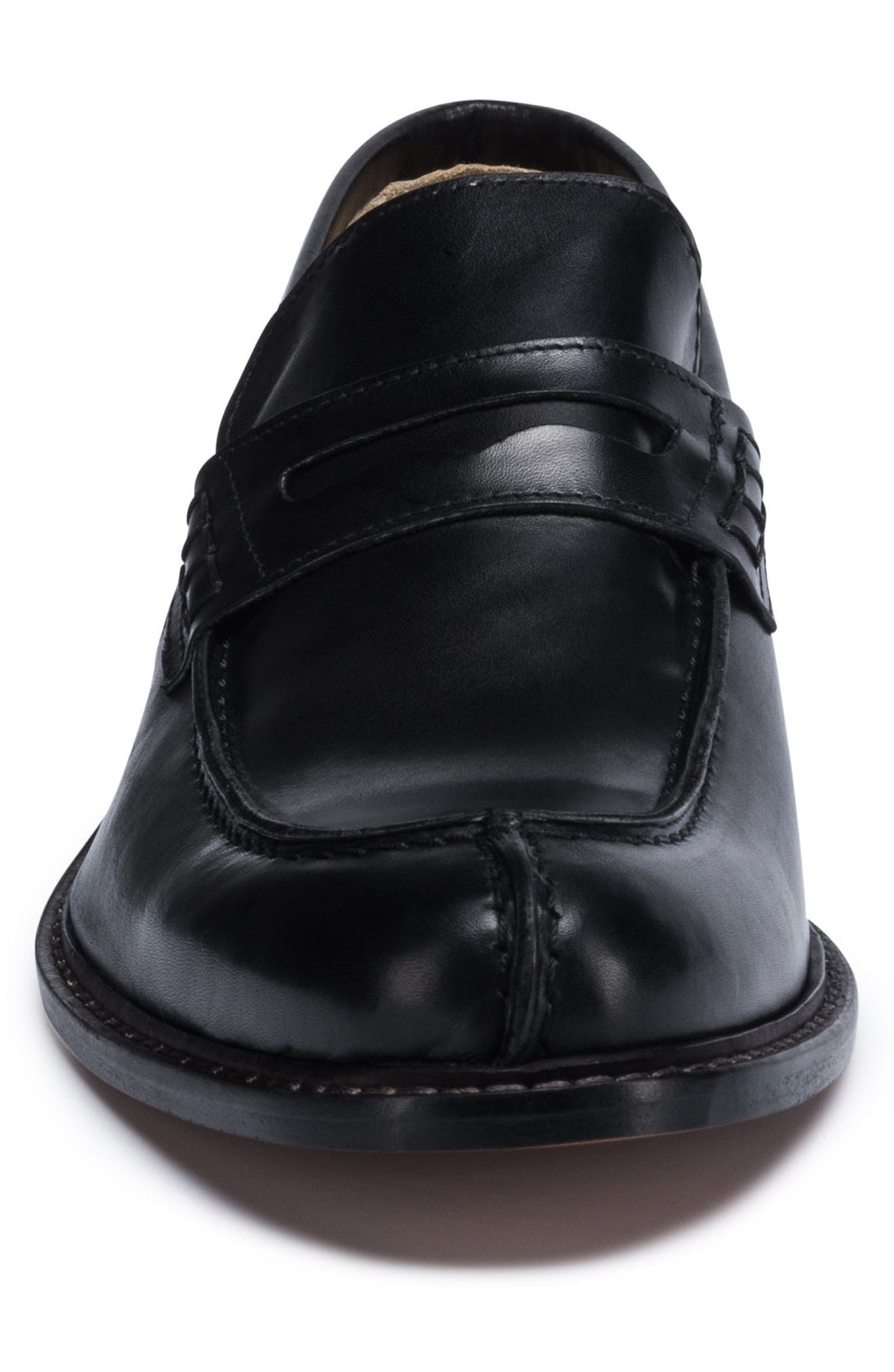 Apron Toe Penny Loafer,                             Alternate thumbnail 4, color,                             Nero Leather