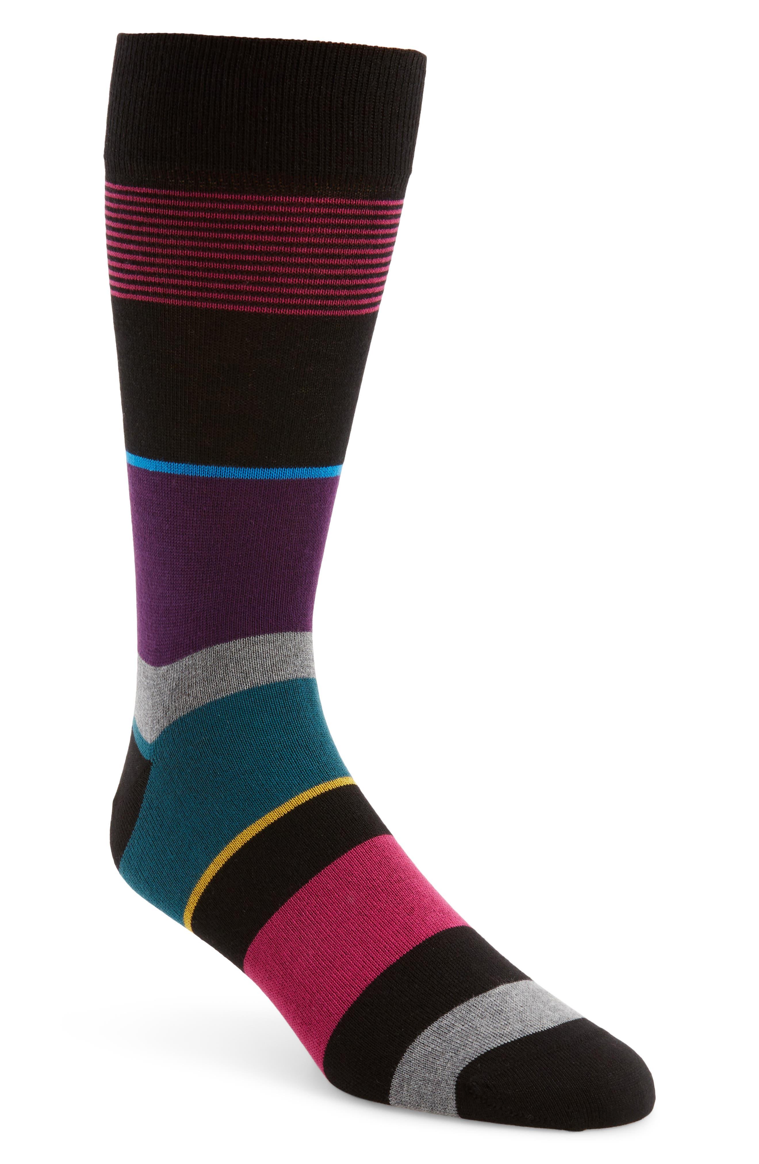 Bugatchi Stripe Cotton & Cashmere Blend Socks