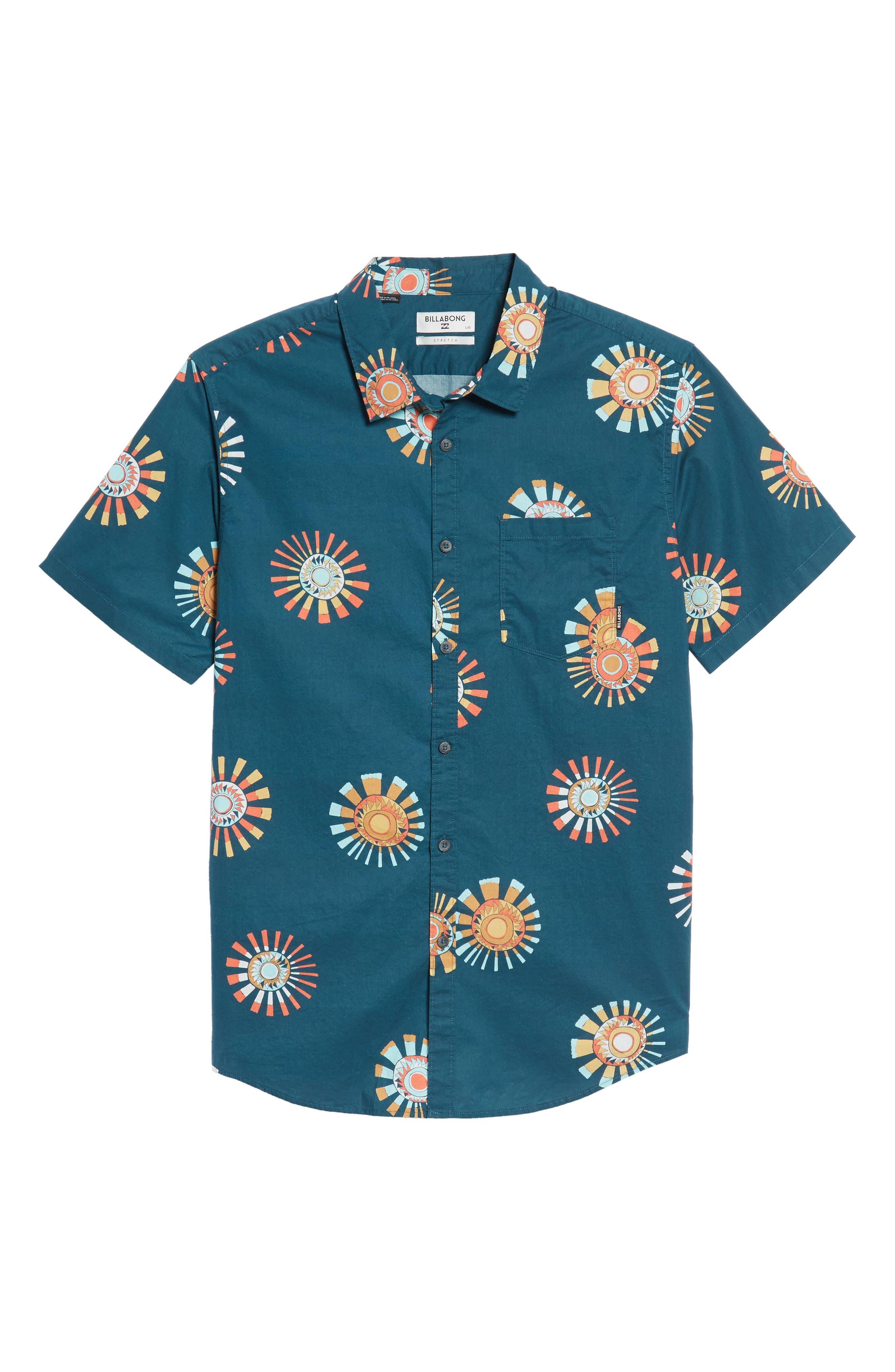 Sunday Floral Woven Shirt,                             Alternate thumbnail 6, color,                             Navy