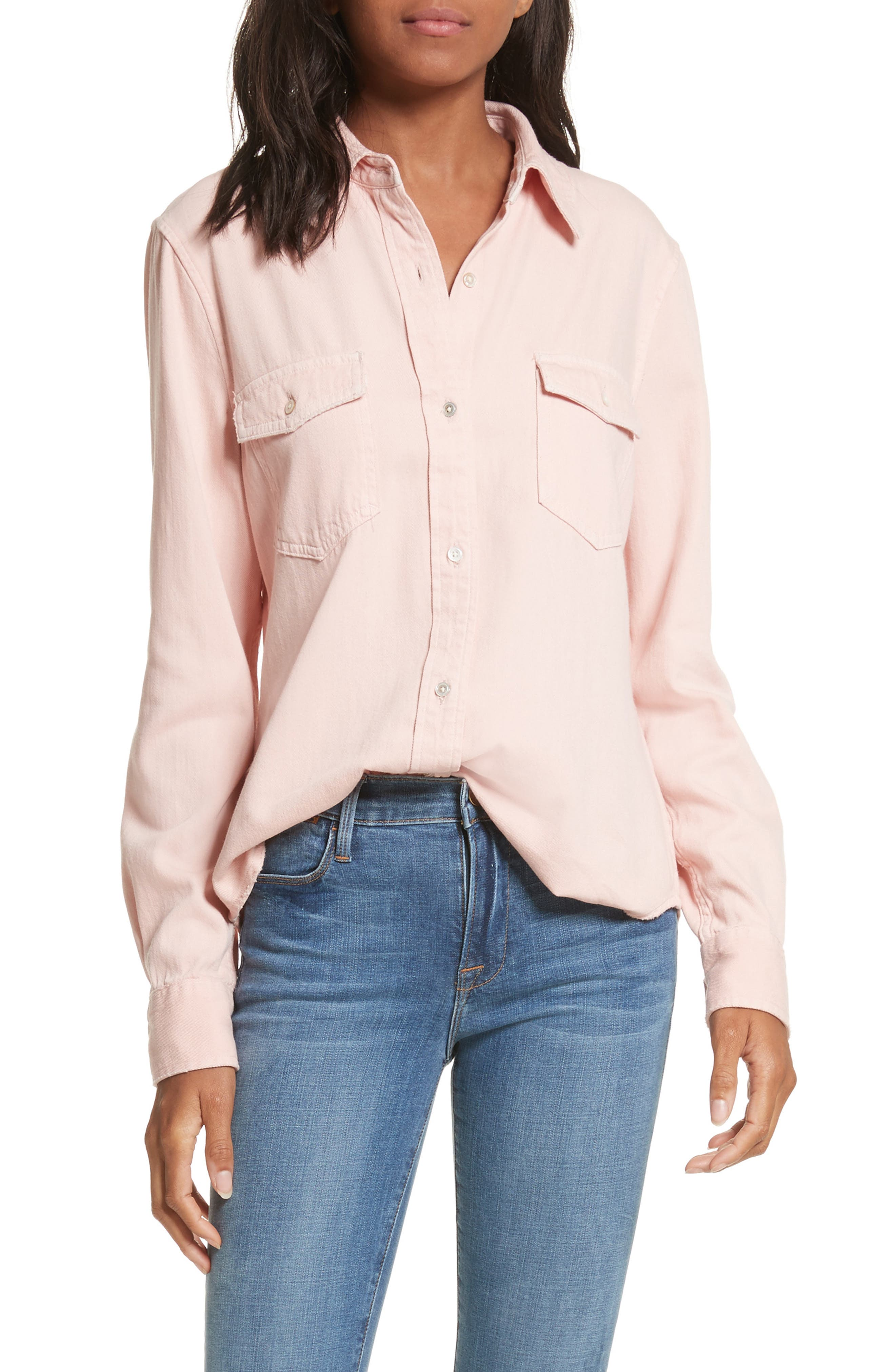 Denim Military Shirt,                             Main thumbnail 1, color,                             Faded Light Pink Exclusive