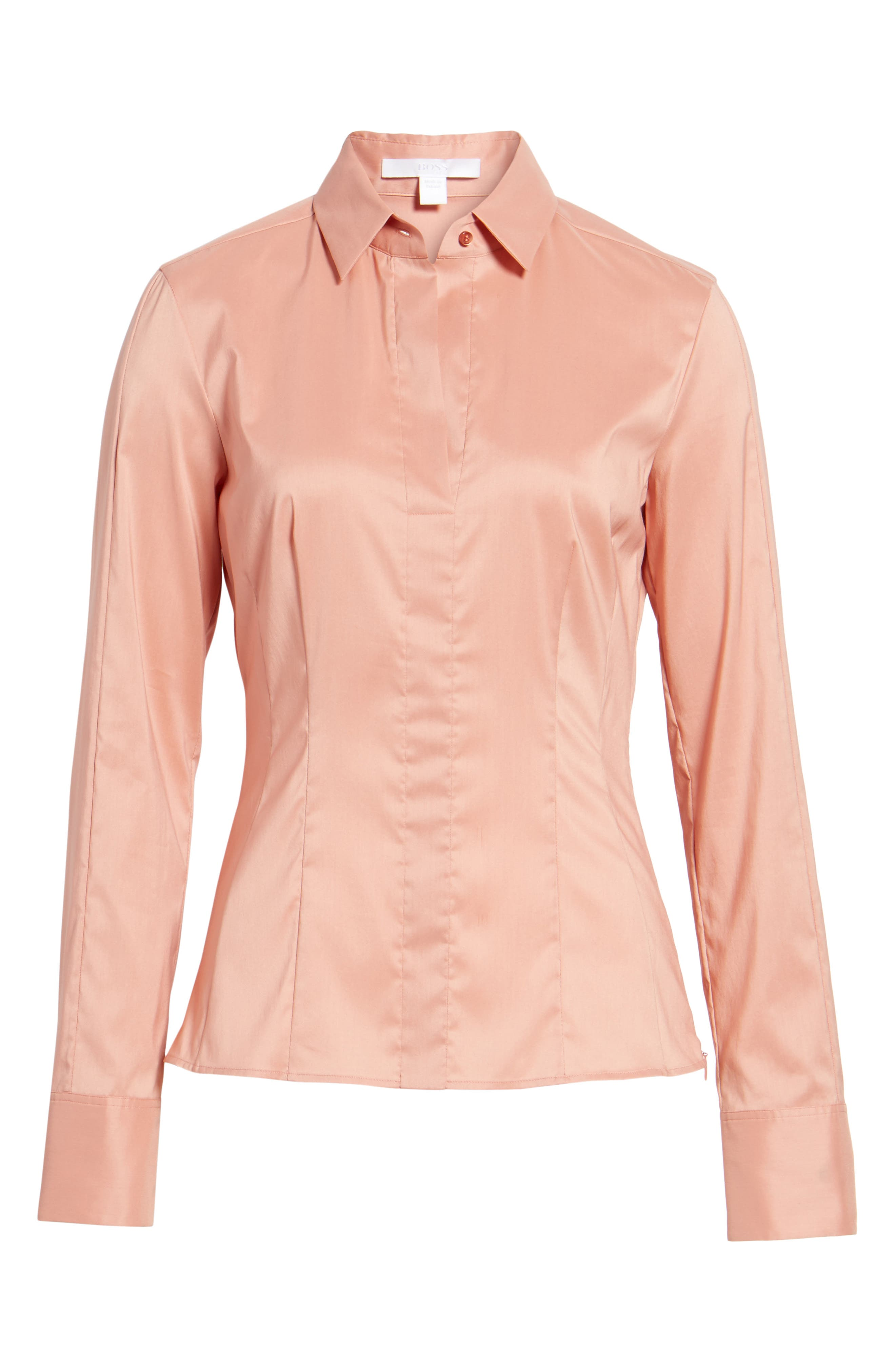 Bashina Fitted Stretch Poplin Shirt,                             Alternate thumbnail 6, color,                             Sand Rose