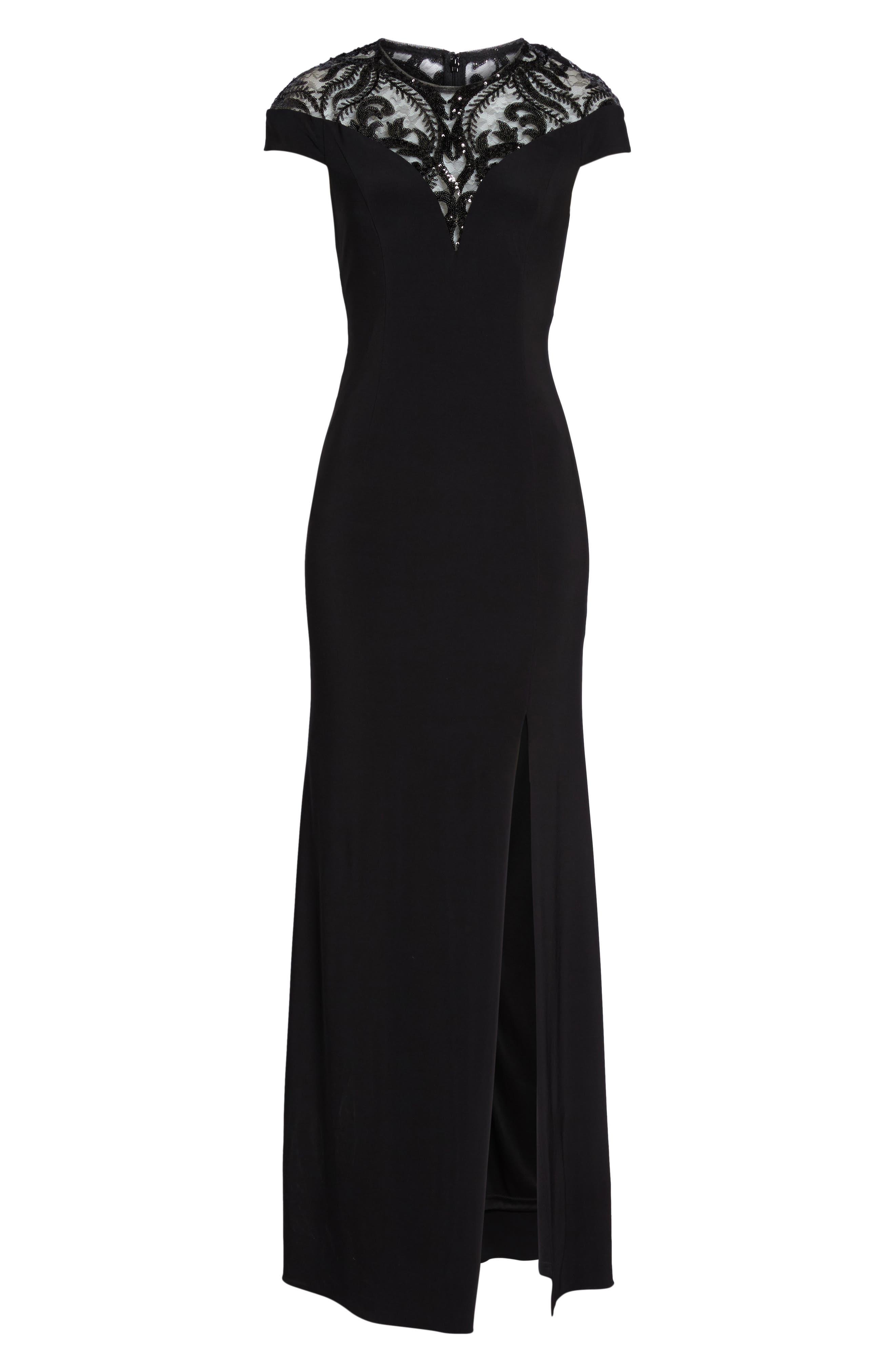 Sequin Embellished Gown,                             Alternate thumbnail 6, color,                             Black