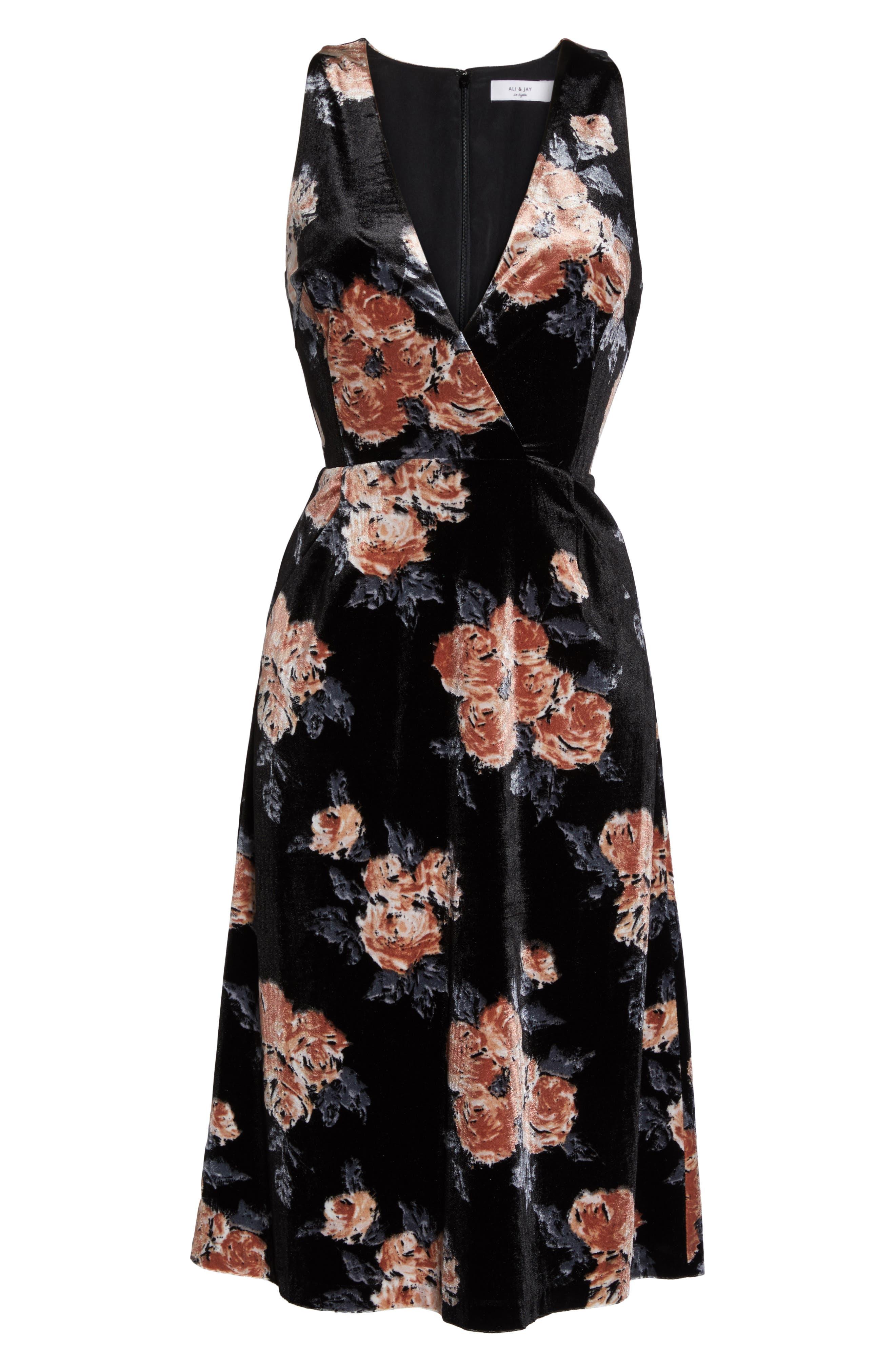 Costes Velvet Fit & Flare Dress,                             Alternate thumbnail 7, color,                             Black Rosettes