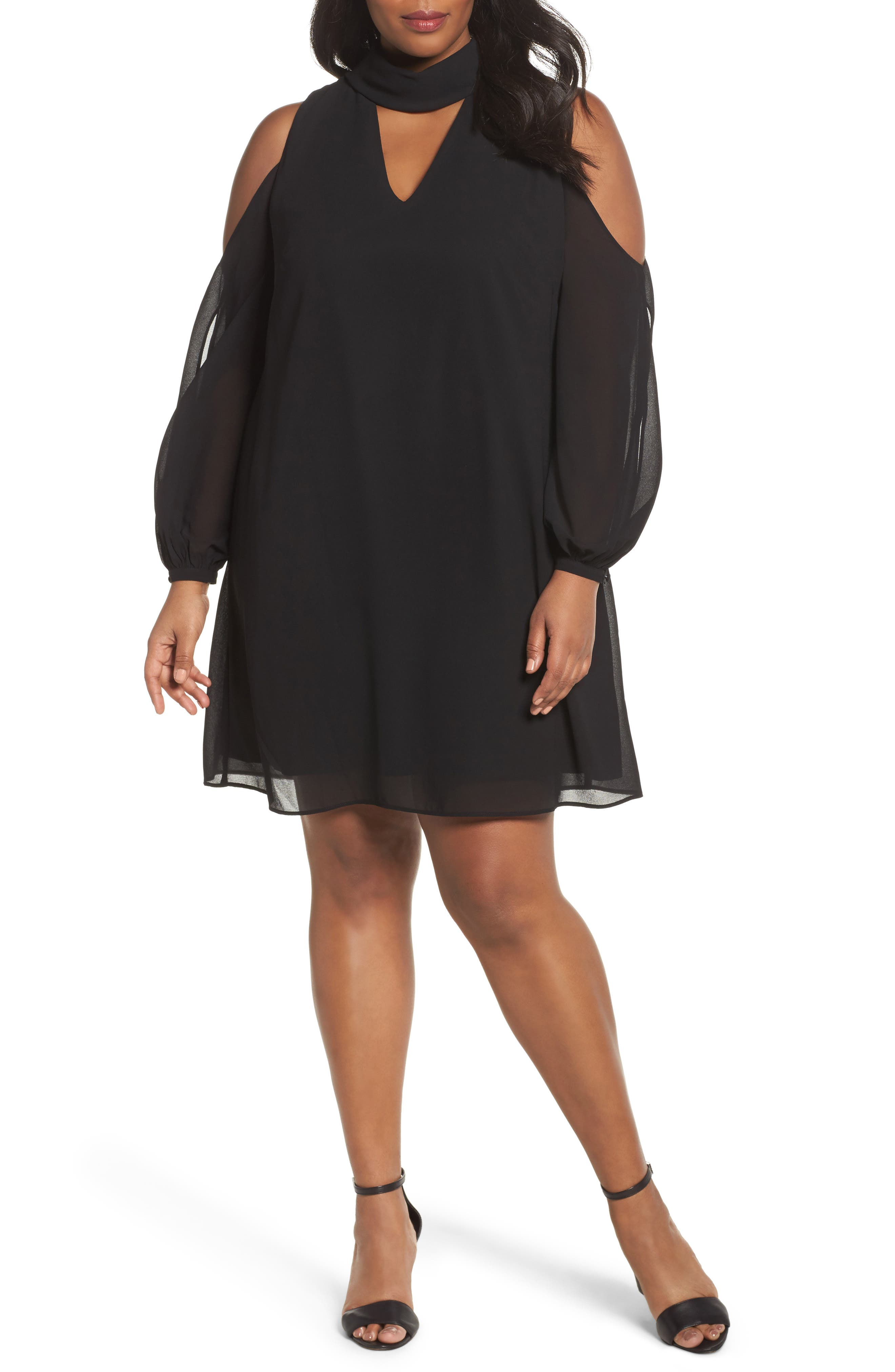 Choker Chiffon Dress,                         Main,                         color, Black