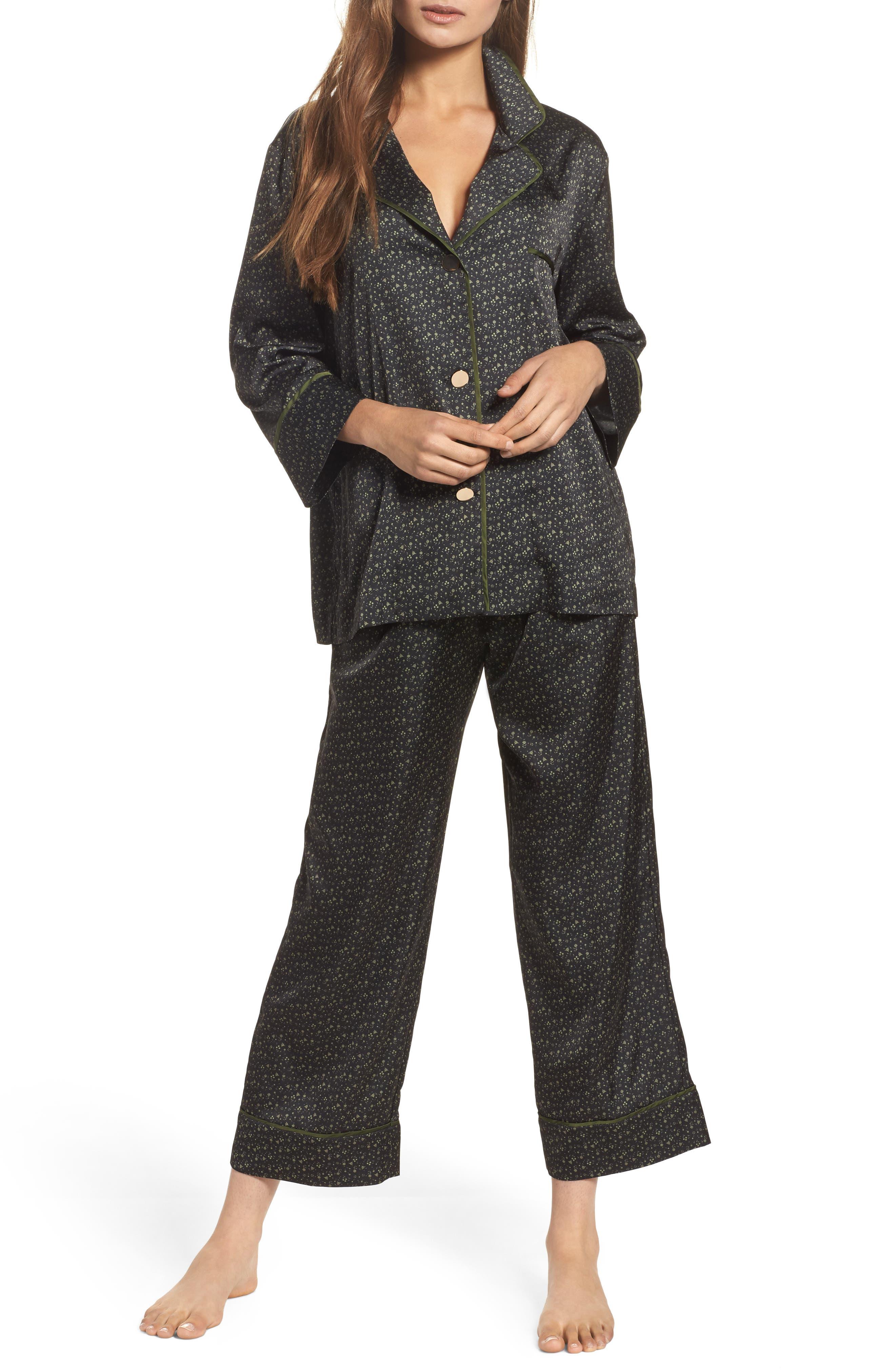 Satin Pajamas,                         Main,                         color, Onyx