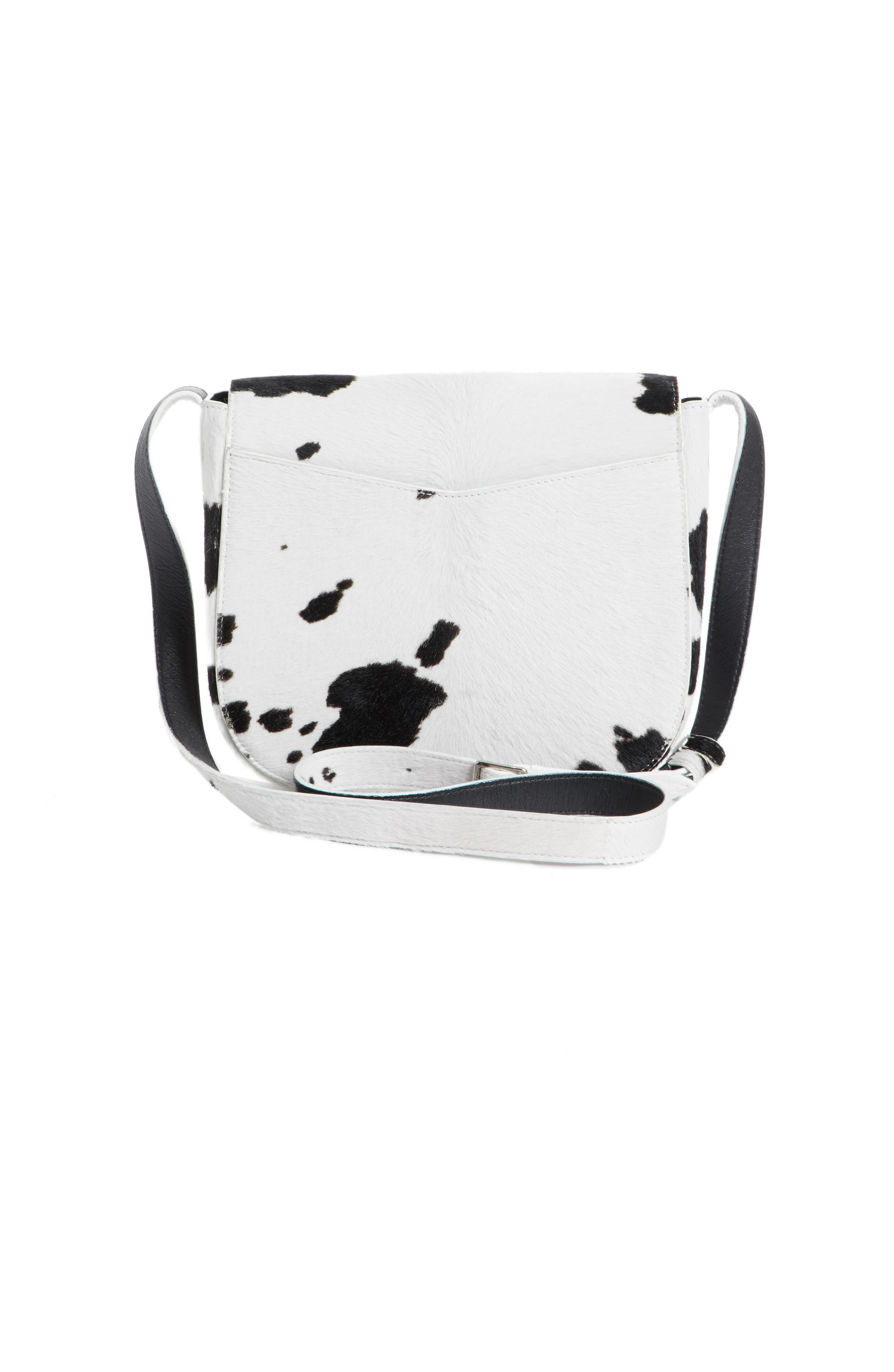 Genuine Calf Hair Shoulder Bag,                             Alternate thumbnail 3, color,                             White/ Black