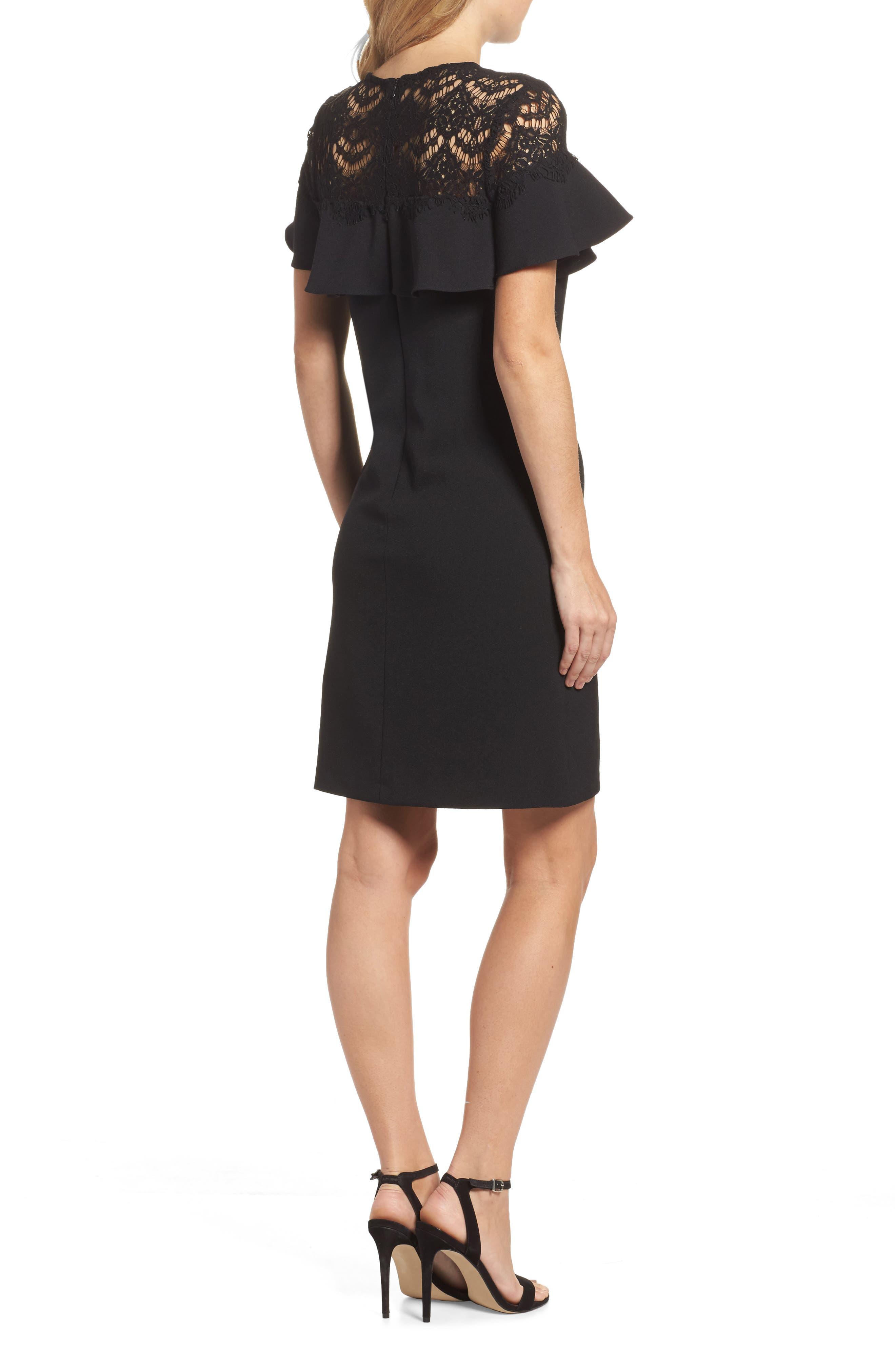 Lace Ruffle Sheath Dress,                             Alternate thumbnail 2, color,                             Black