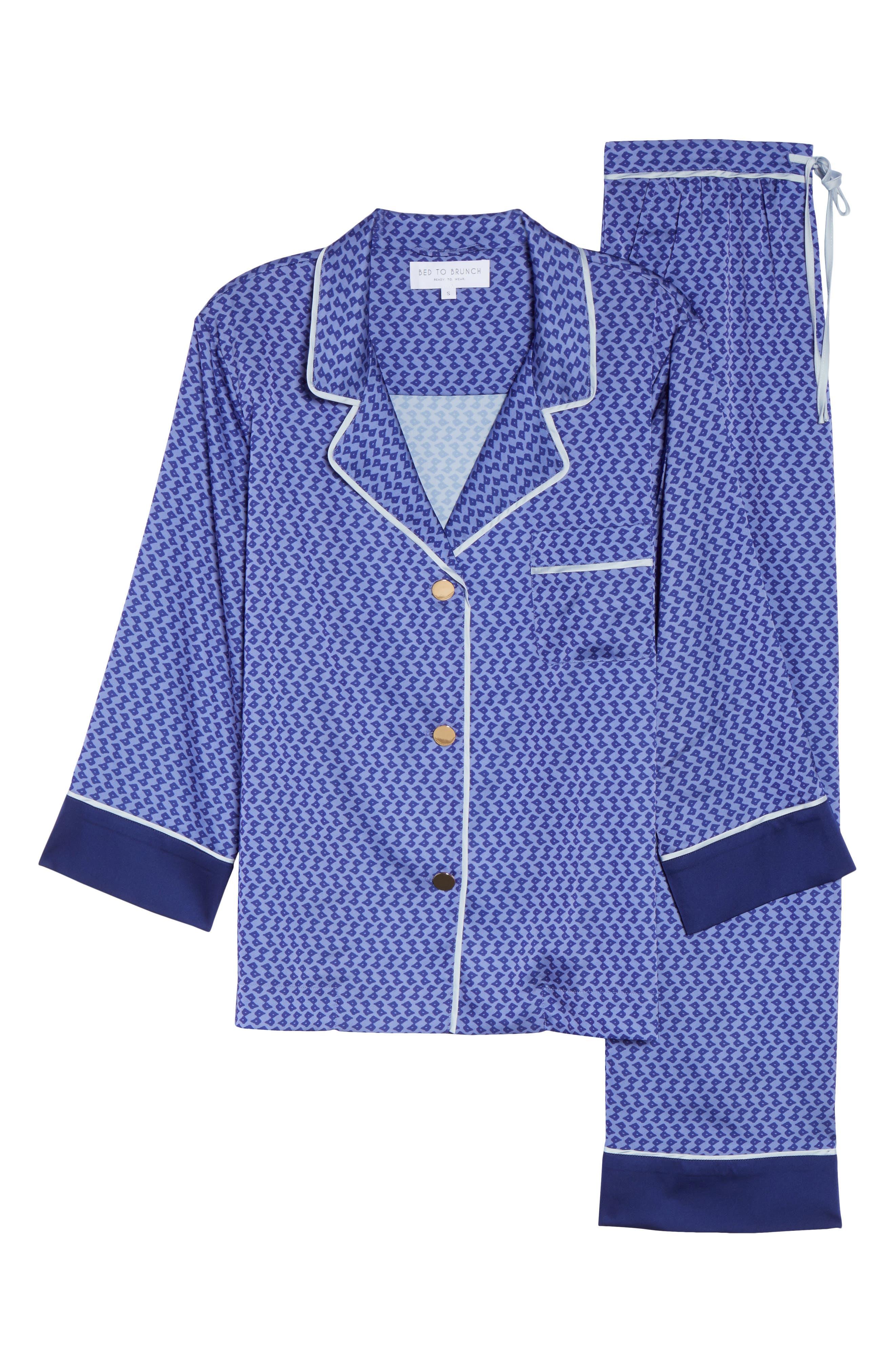 Satin Crop Pajamas,                             Alternate thumbnail 4, color,                             Dark Purple