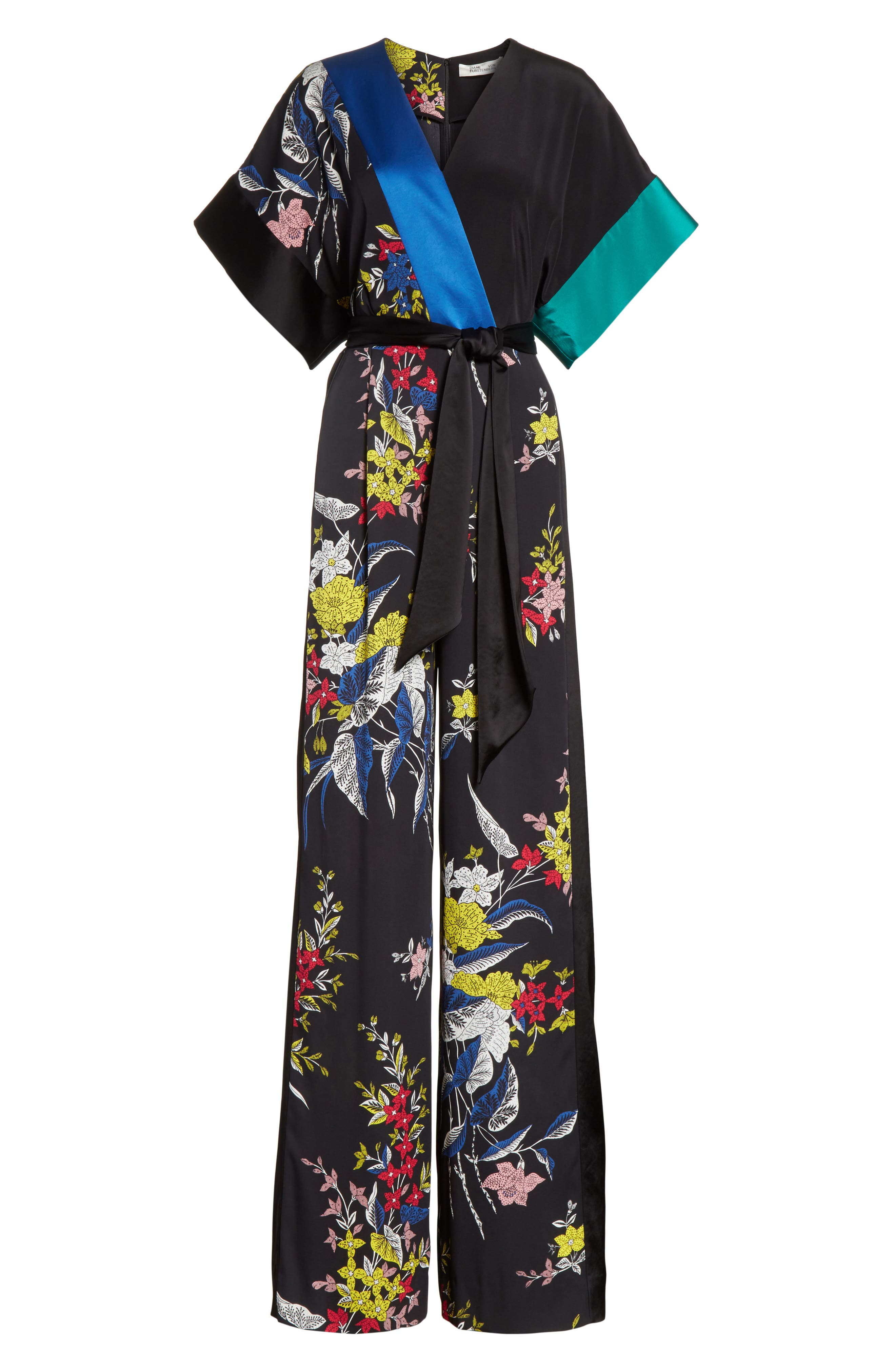 Faux Wrap Colorblock Silk Jumpsuit,                             Alternate thumbnail 6, color,                             Camden Black Multi