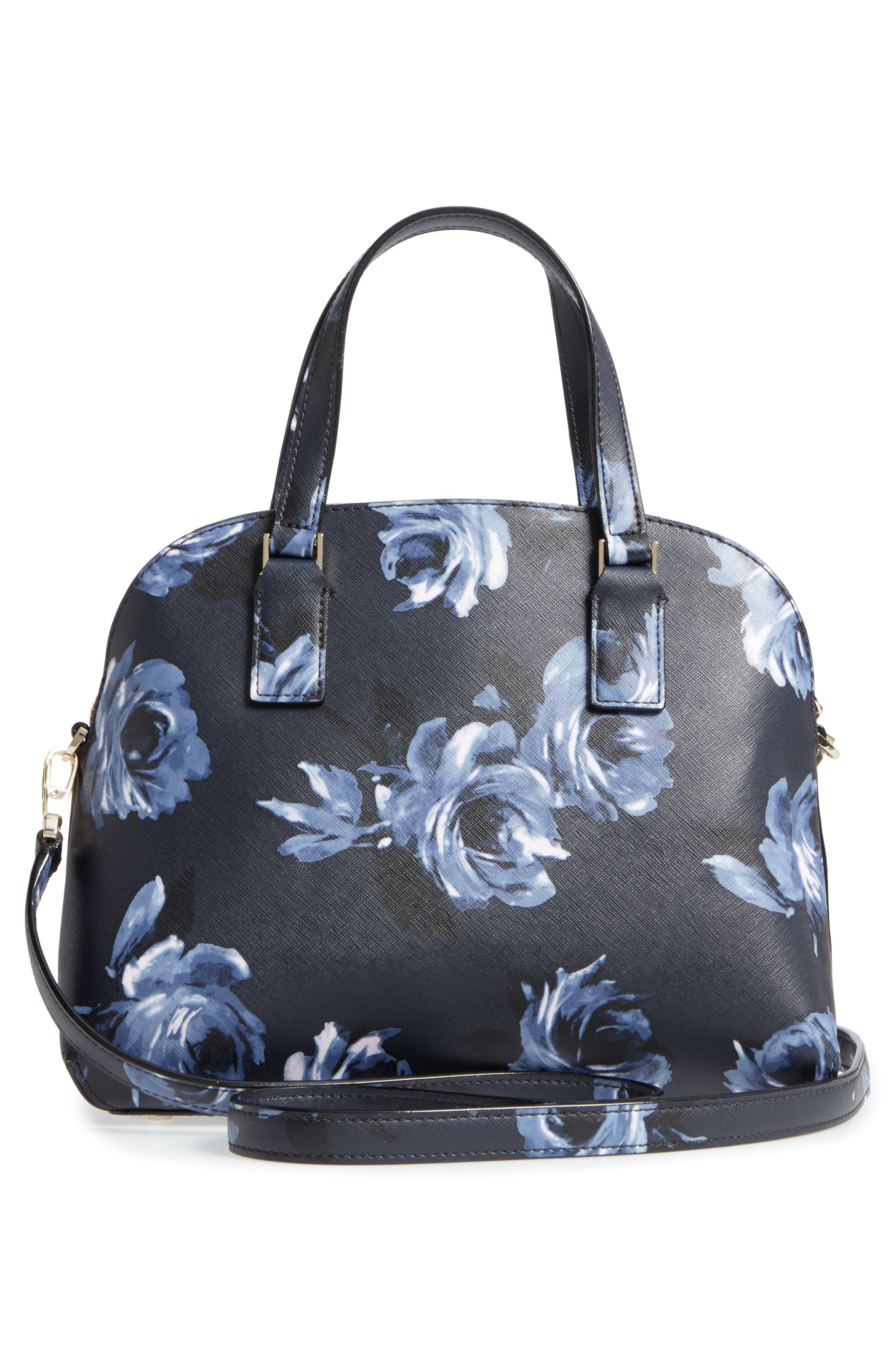cameron street lottie floral faux leather satchel,                             Alternate thumbnail 3, color,                             Rich Navy Multi