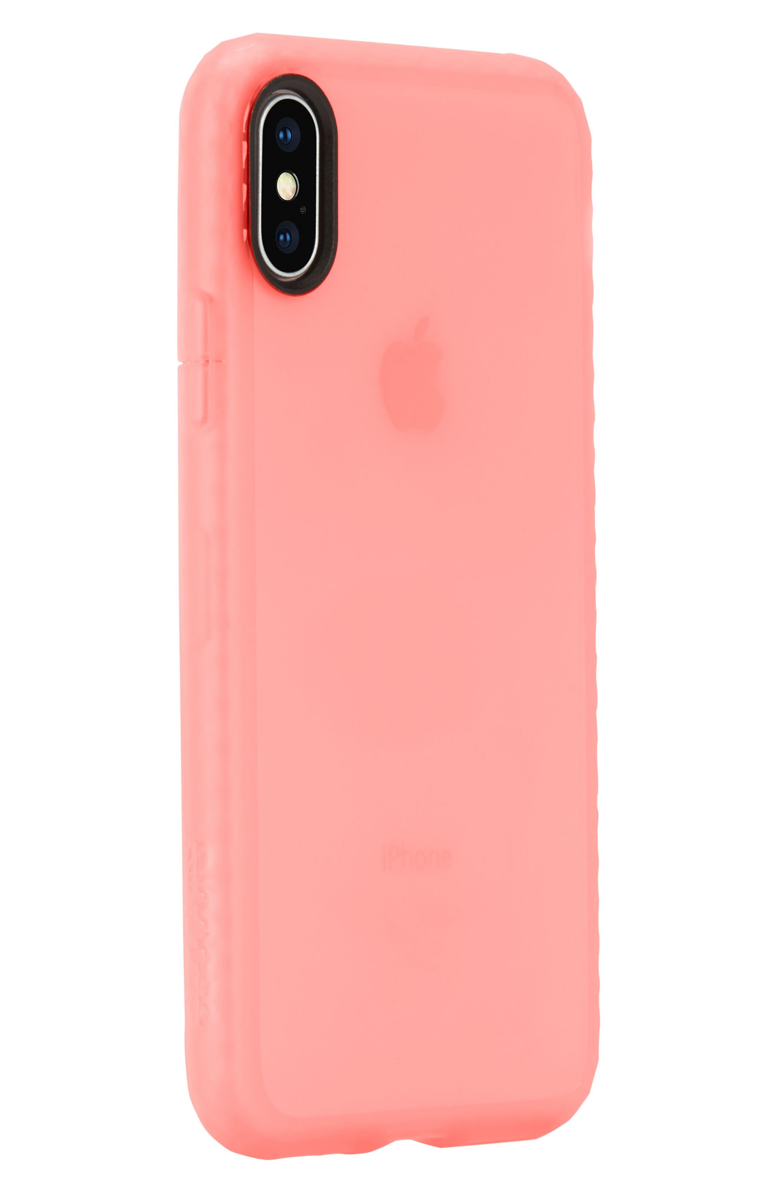 Protective Lattice iPhone X Case,                             Alternate thumbnail 2, color,                             Coral