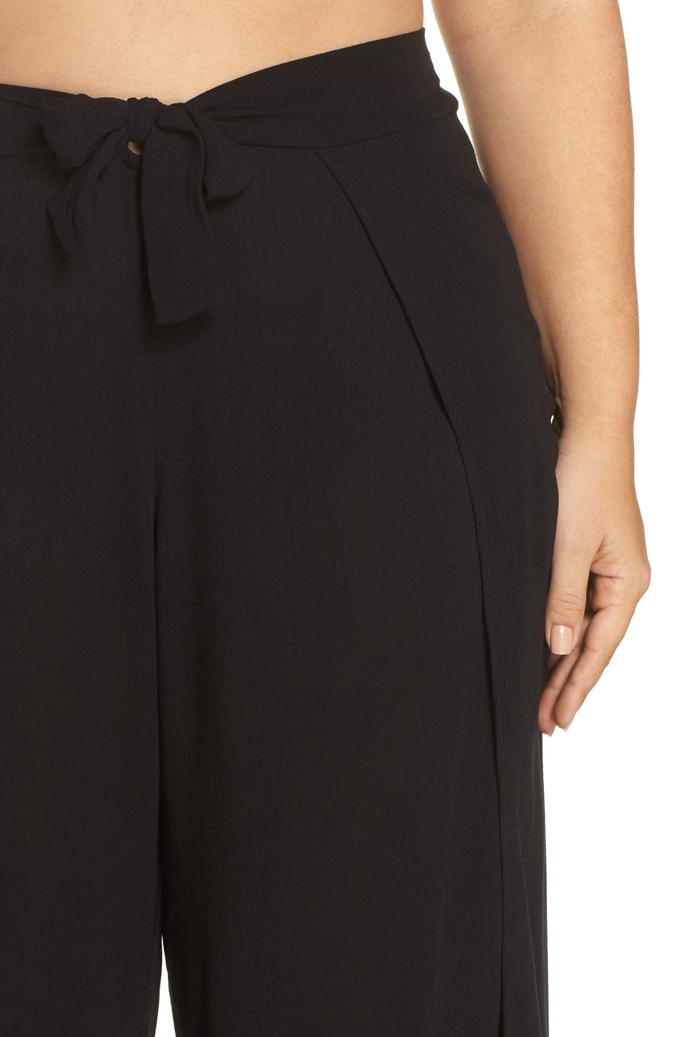 Modern Muse Cover-Up Pants,                             Alternate thumbnail 4, color,                             Black