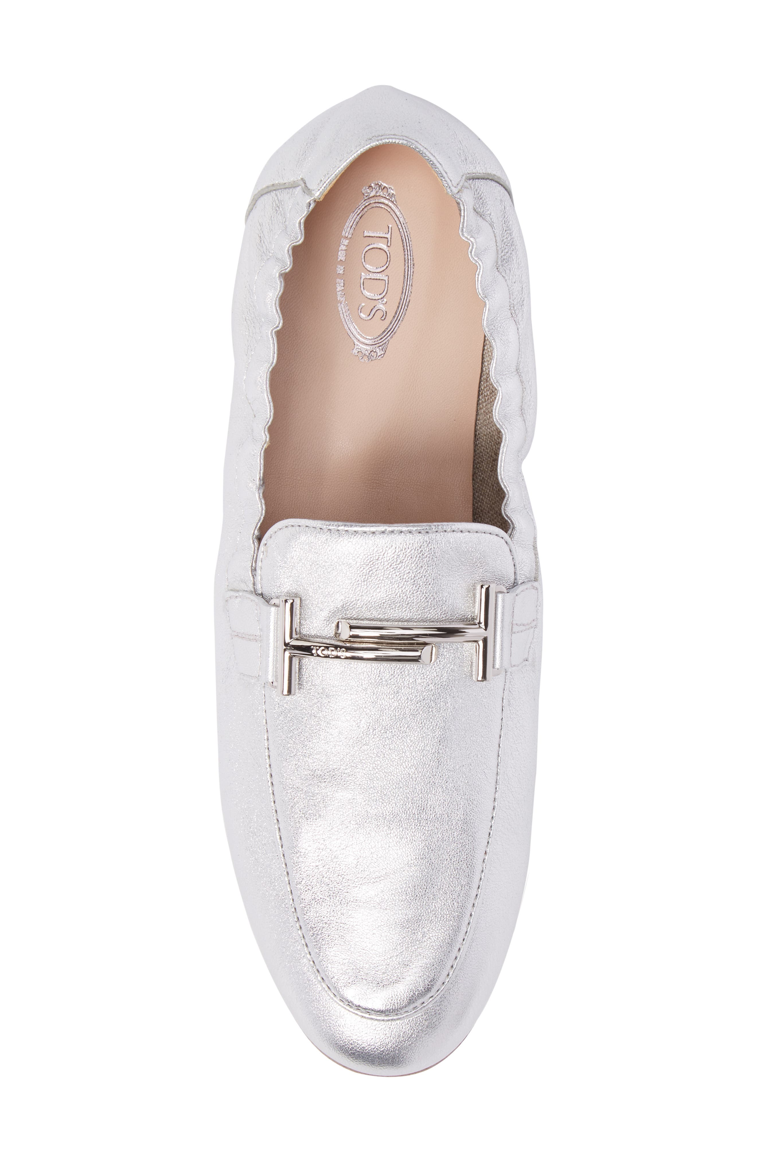 Double T Scrunch Loafer,                             Alternate thumbnail 5, color,                             Silver
