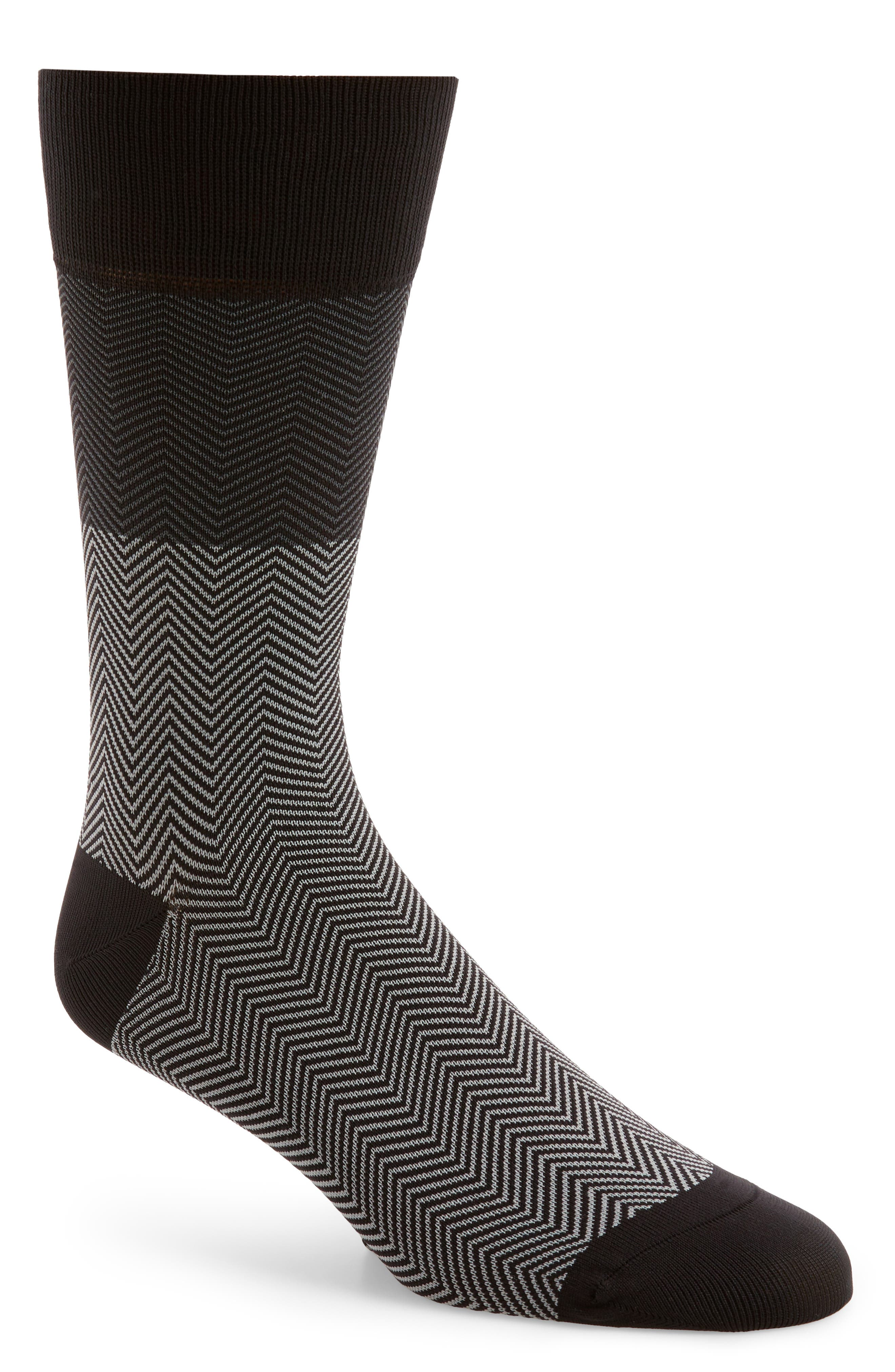Herringbone Socks,                         Main,                         color, Black