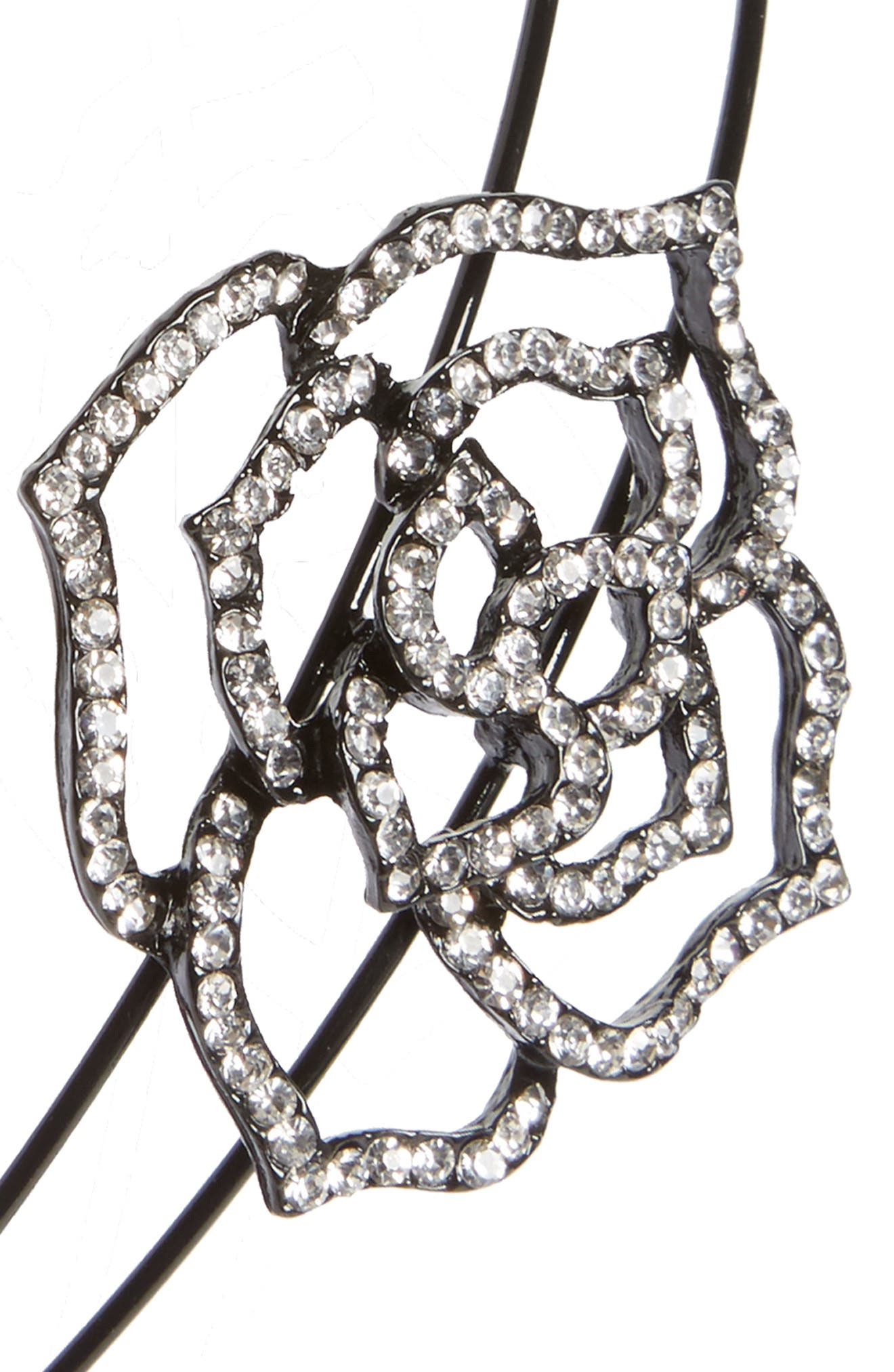 Rose Crystal Embellished Double Headband,                             Alternate thumbnail 2, color,                             Silver