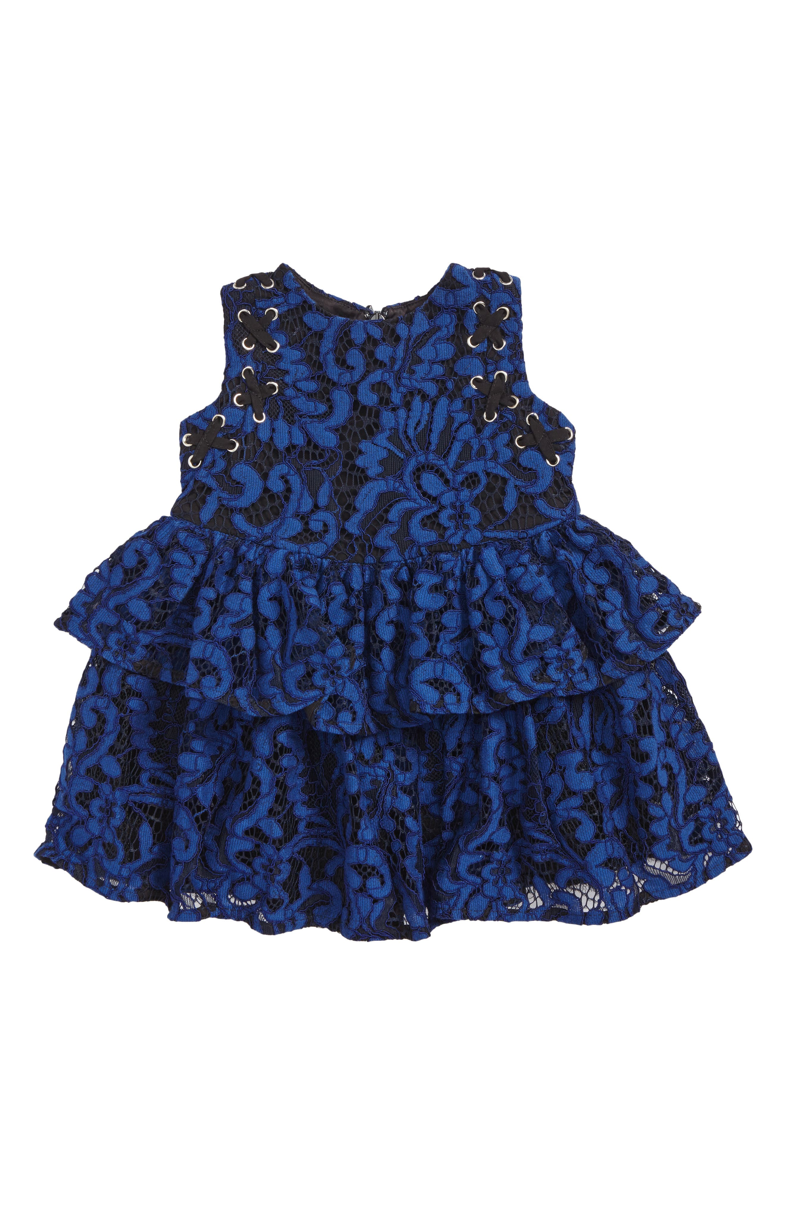 Lace Eyelet Dress,                         Main,                         color, Mazarine Blue
