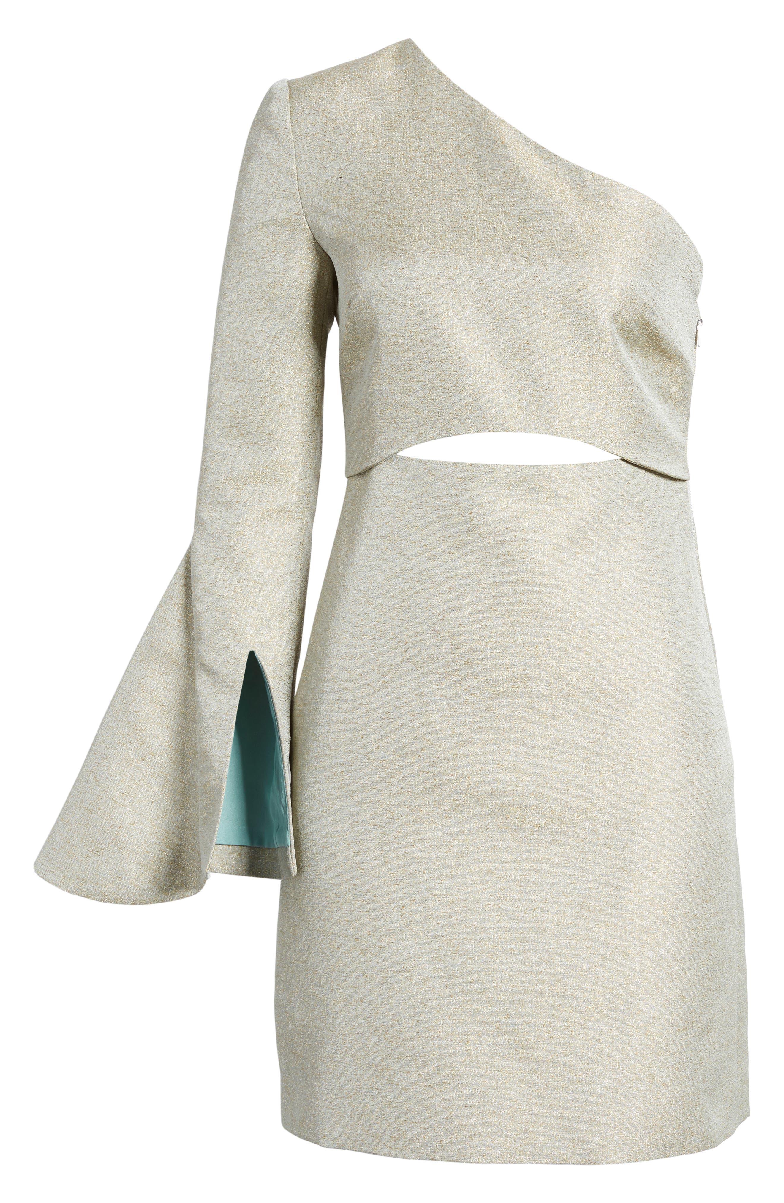 Valencia One-Shoulder Minidress,                             Alternate thumbnail 6, color,                             Sage