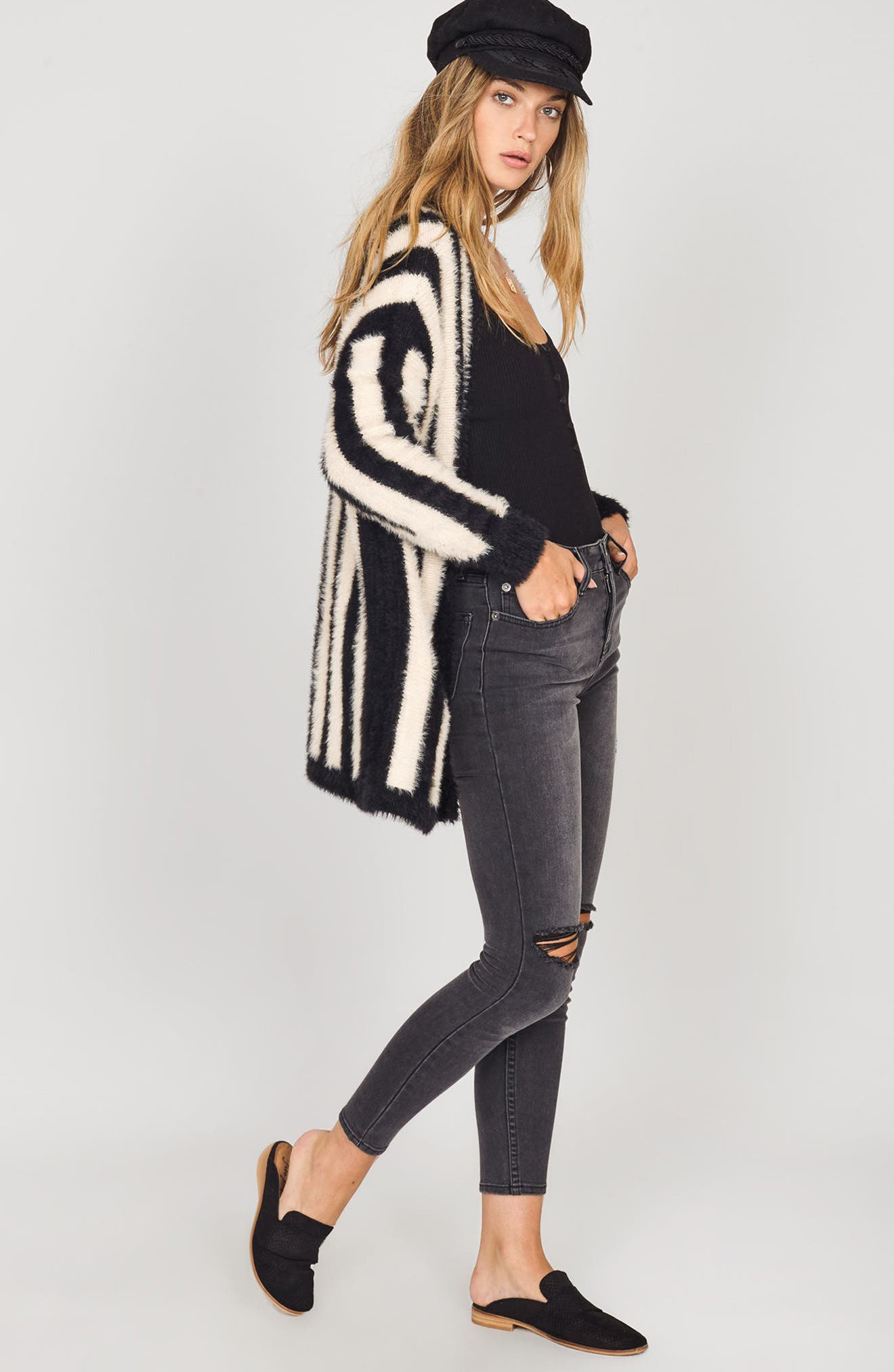 Keep Me Cozy Stripe Sweater,                             Alternate thumbnail 3, color,                             Black Sands