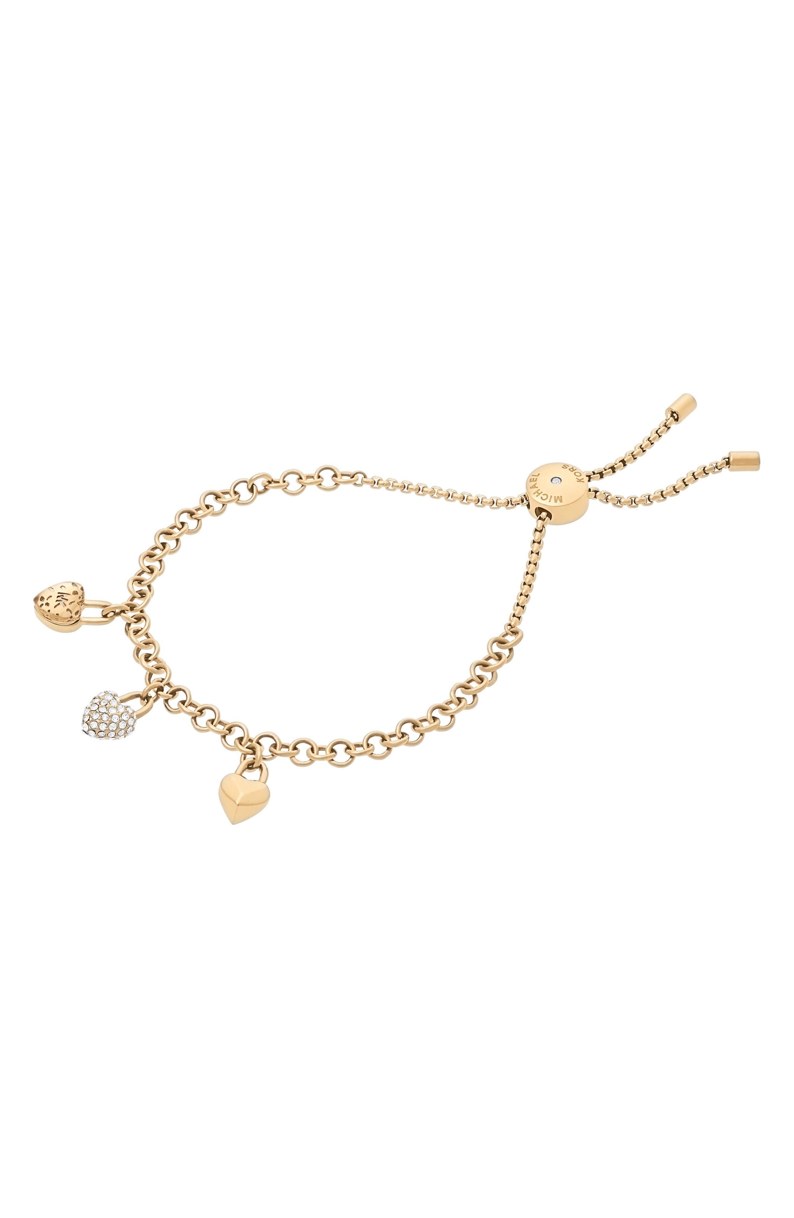 Slider Crystal Bracelet,                         Main,                         color, Gold