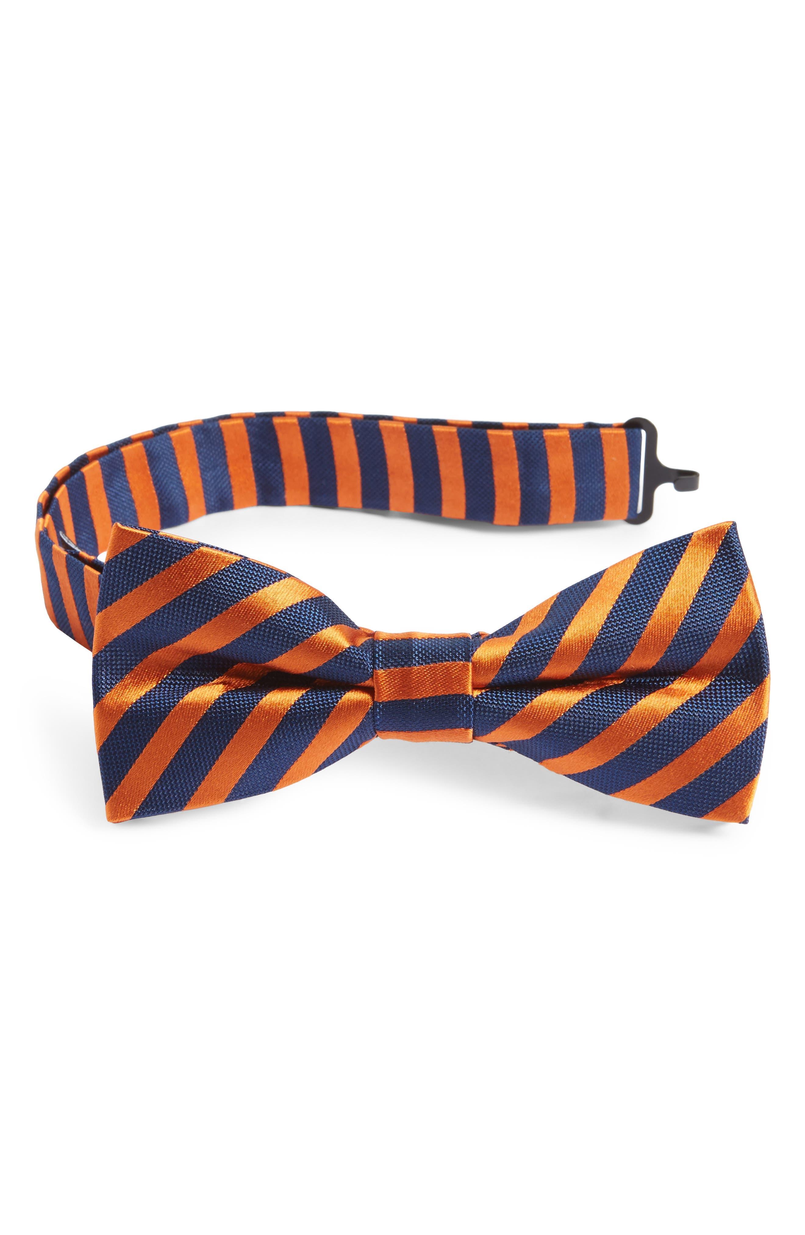 Stripe Silk Bow Tie,                         Main,                         color, Orange