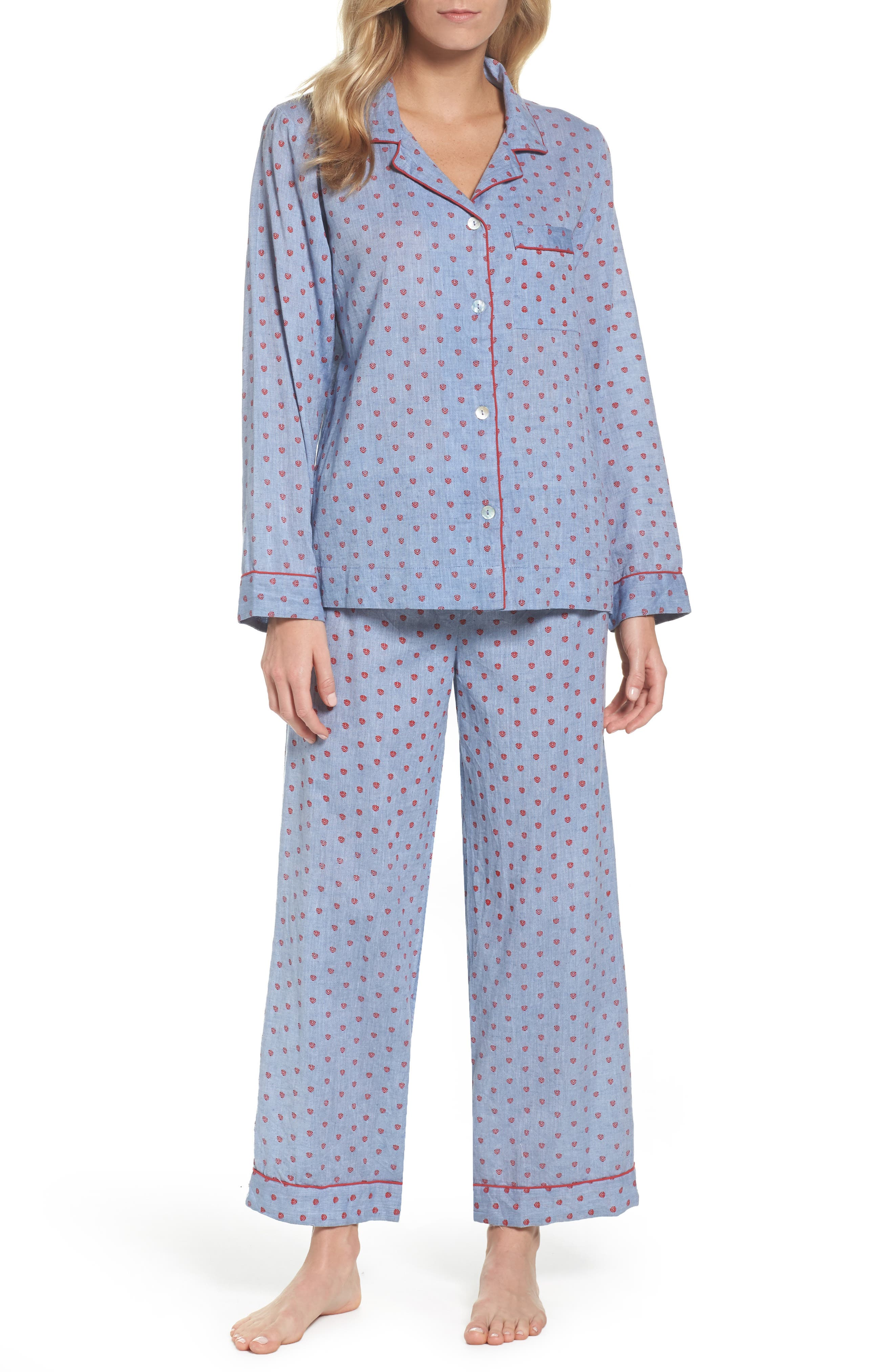 Washed Cotton Pajamas,                             Main thumbnail 1, color,                             Rb-Denim