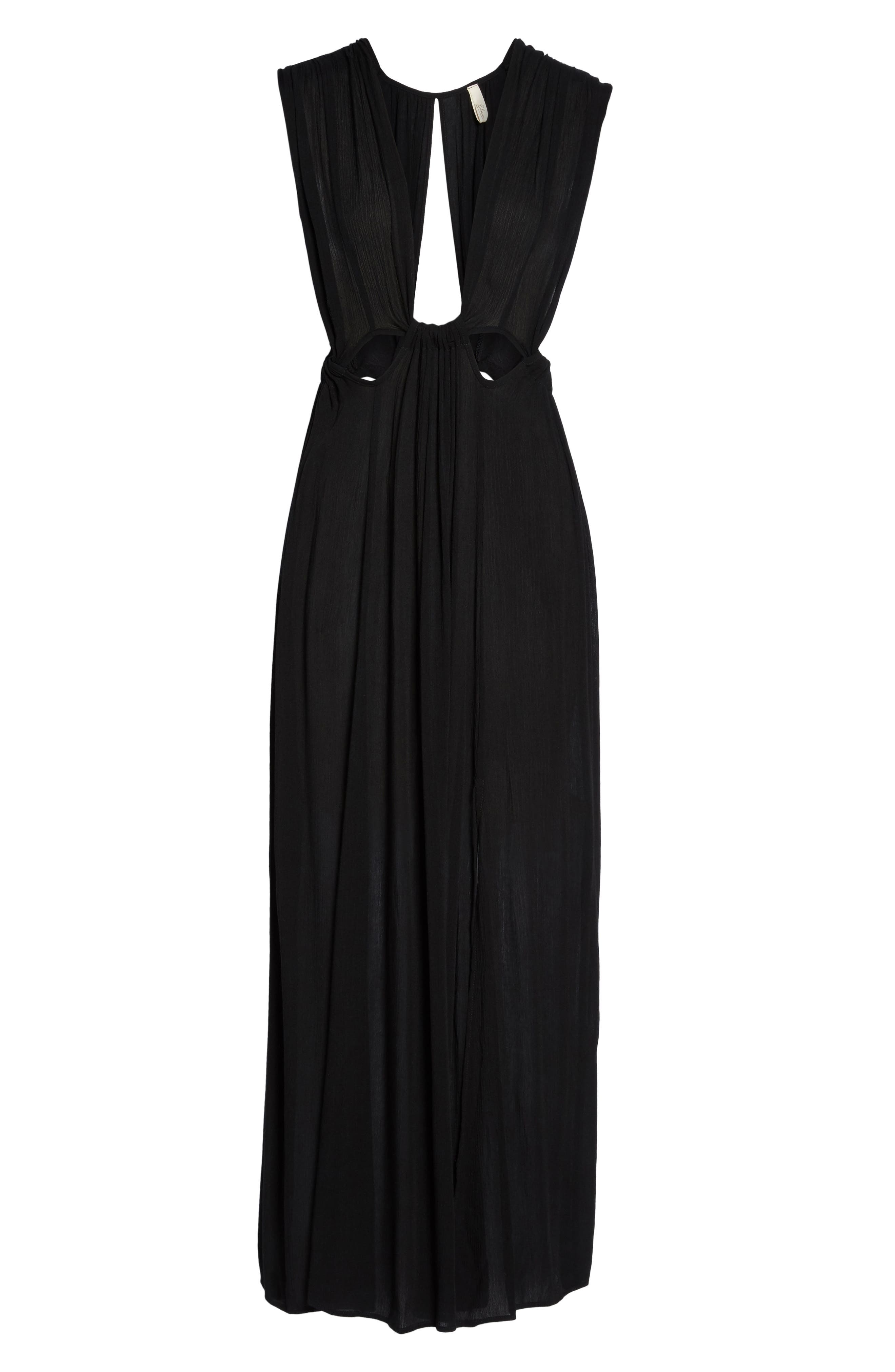 Cutout Maxi Cover-Up Dress,                             Alternate thumbnail 6, color,                             Black