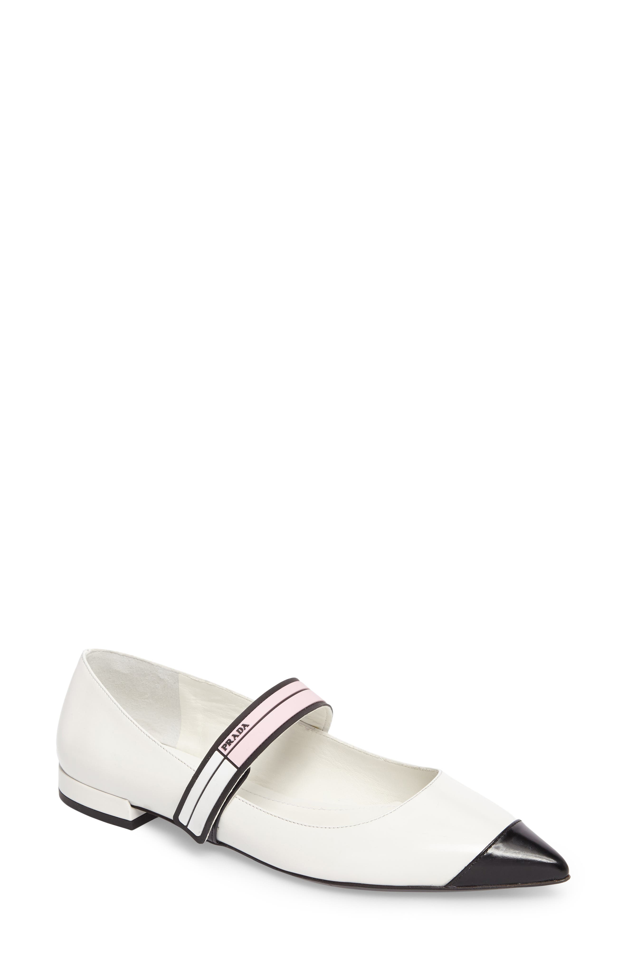 Alternate Image 1 Selected - Prada Logo Strap Pointy Toe Flat (Women)