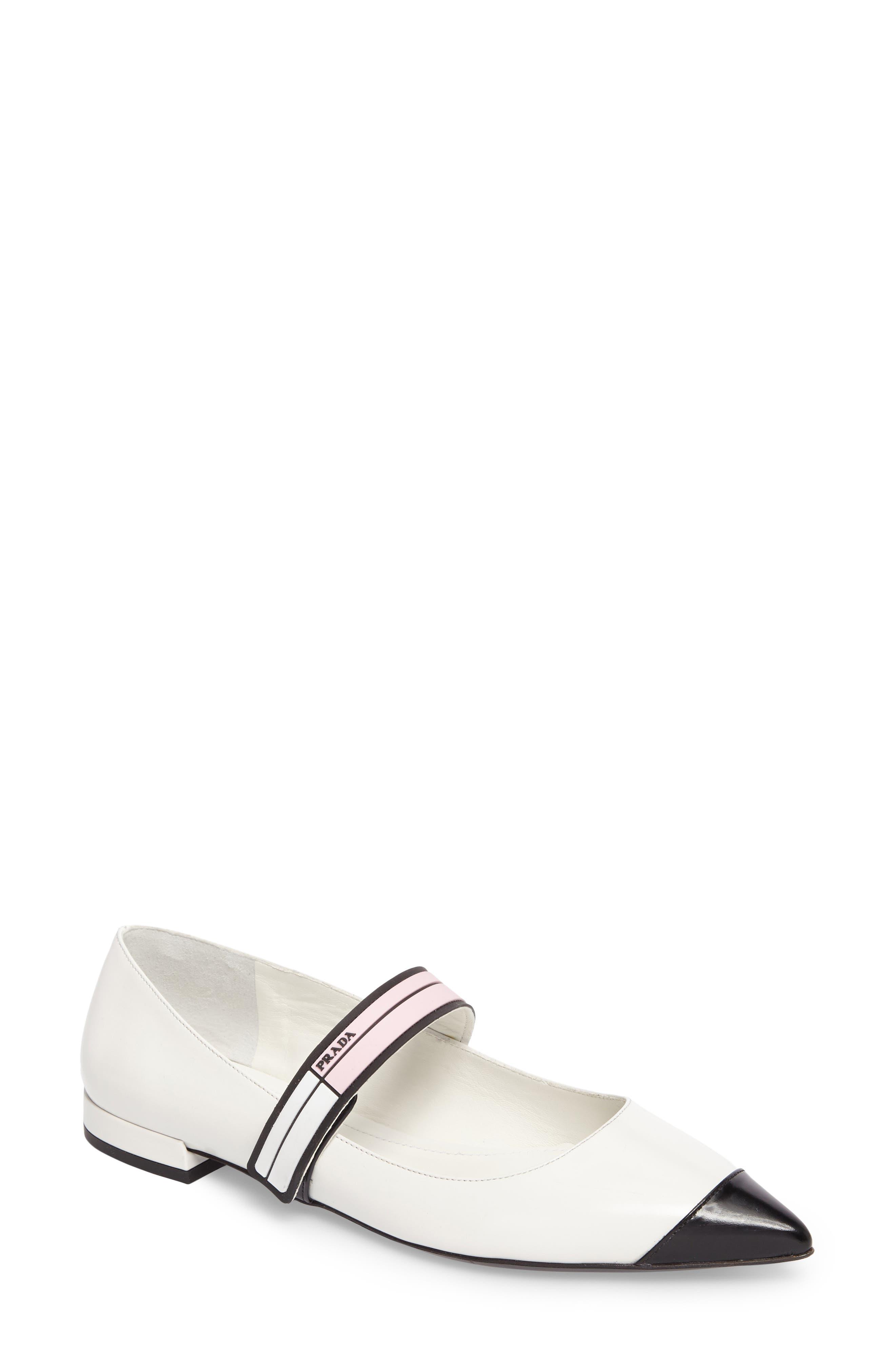 Prada Logo Strap Pointy Toe Flat (Women)