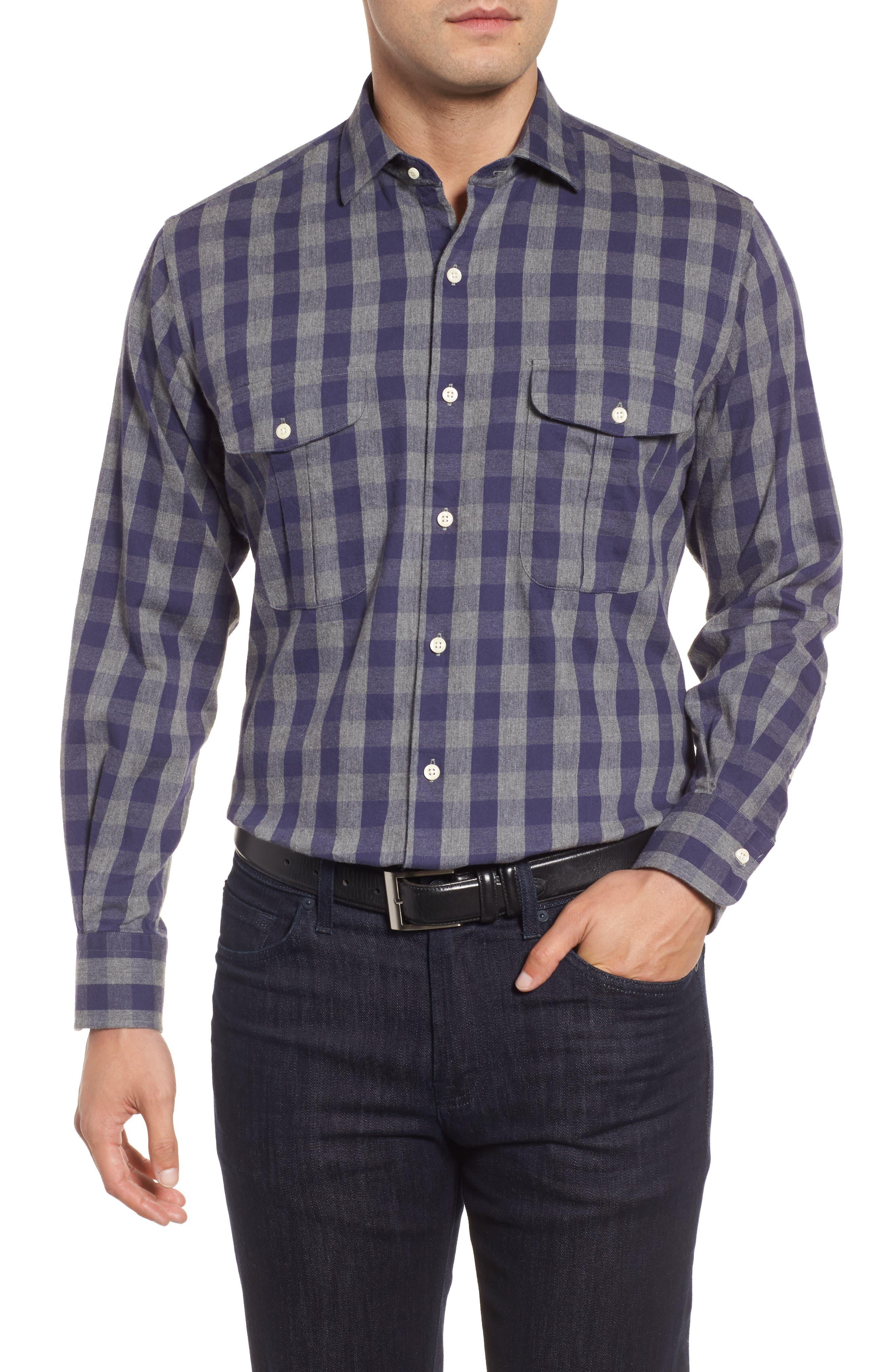 Buffalo Buddy Regular Fit Check Sport Shirt,                         Main,                         color, Atlantic Blue