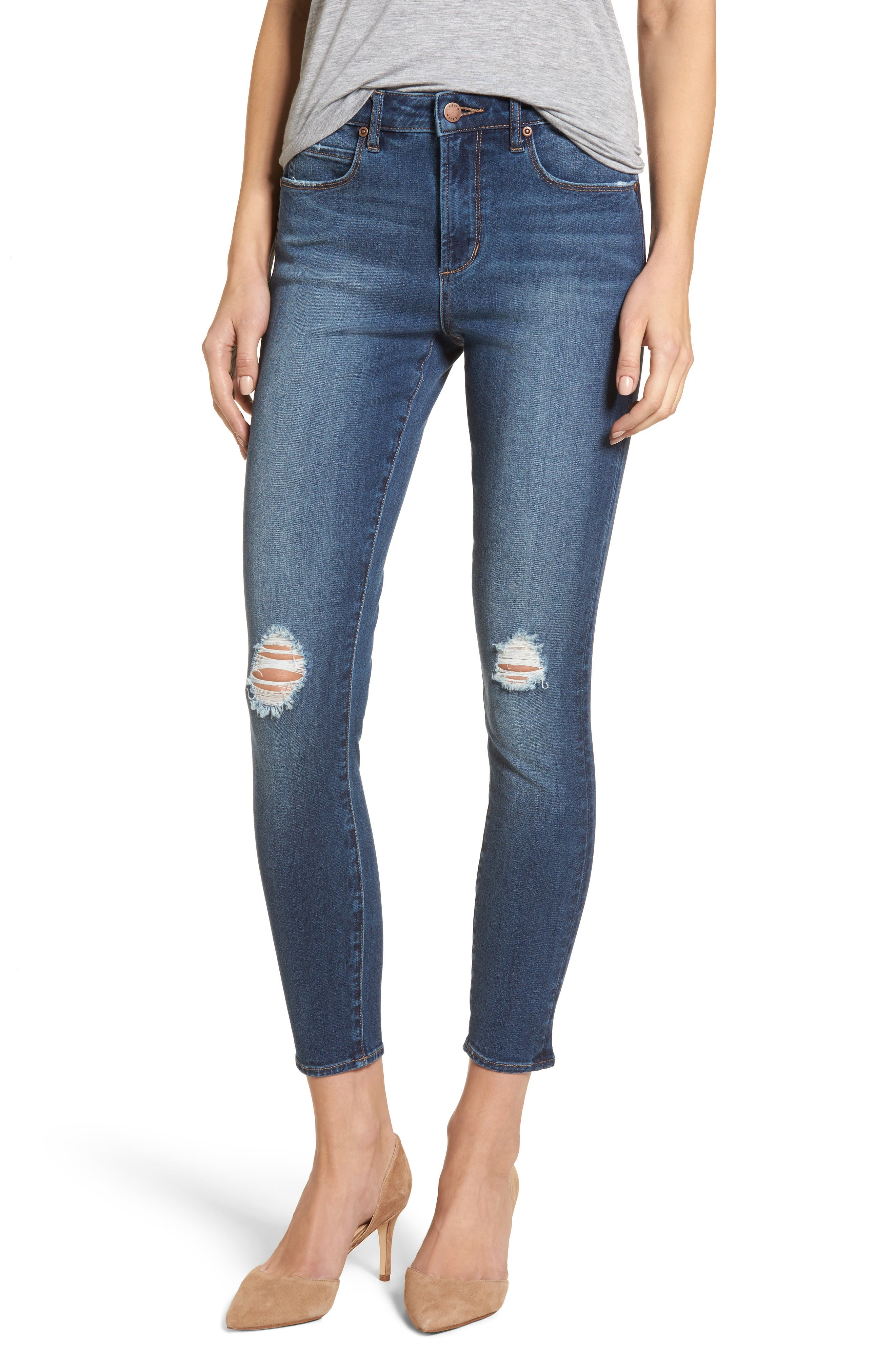 Distressed Skinny Ankle Jeans,                             Main thumbnail 1, color,                             Medium Wash