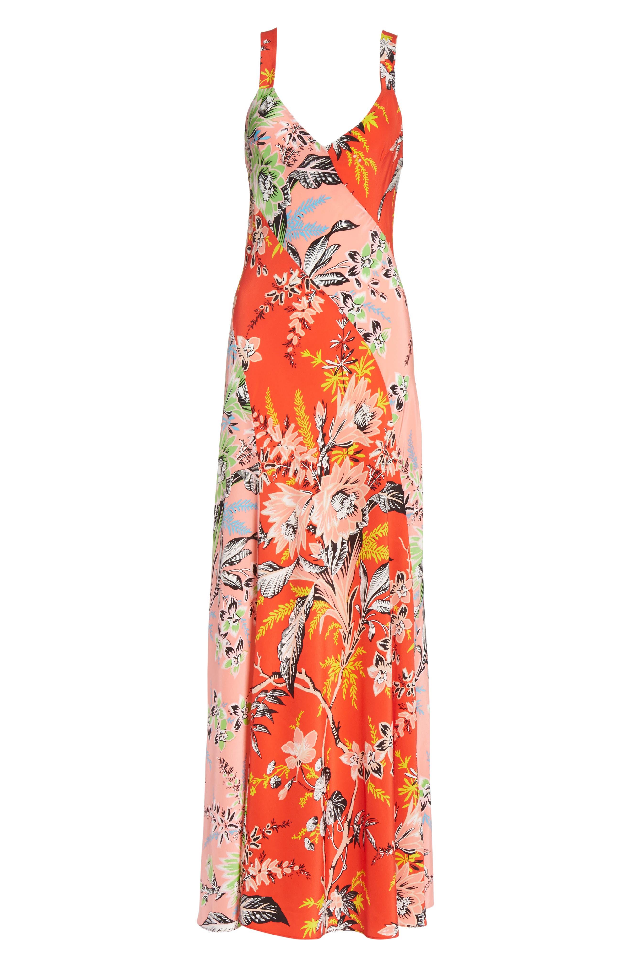 Diane von Furstenberg Paneled Silk Maxi Dress,                             Alternate thumbnail 6, color,                             Avalon Poppy/ Avalon Hyacinth
