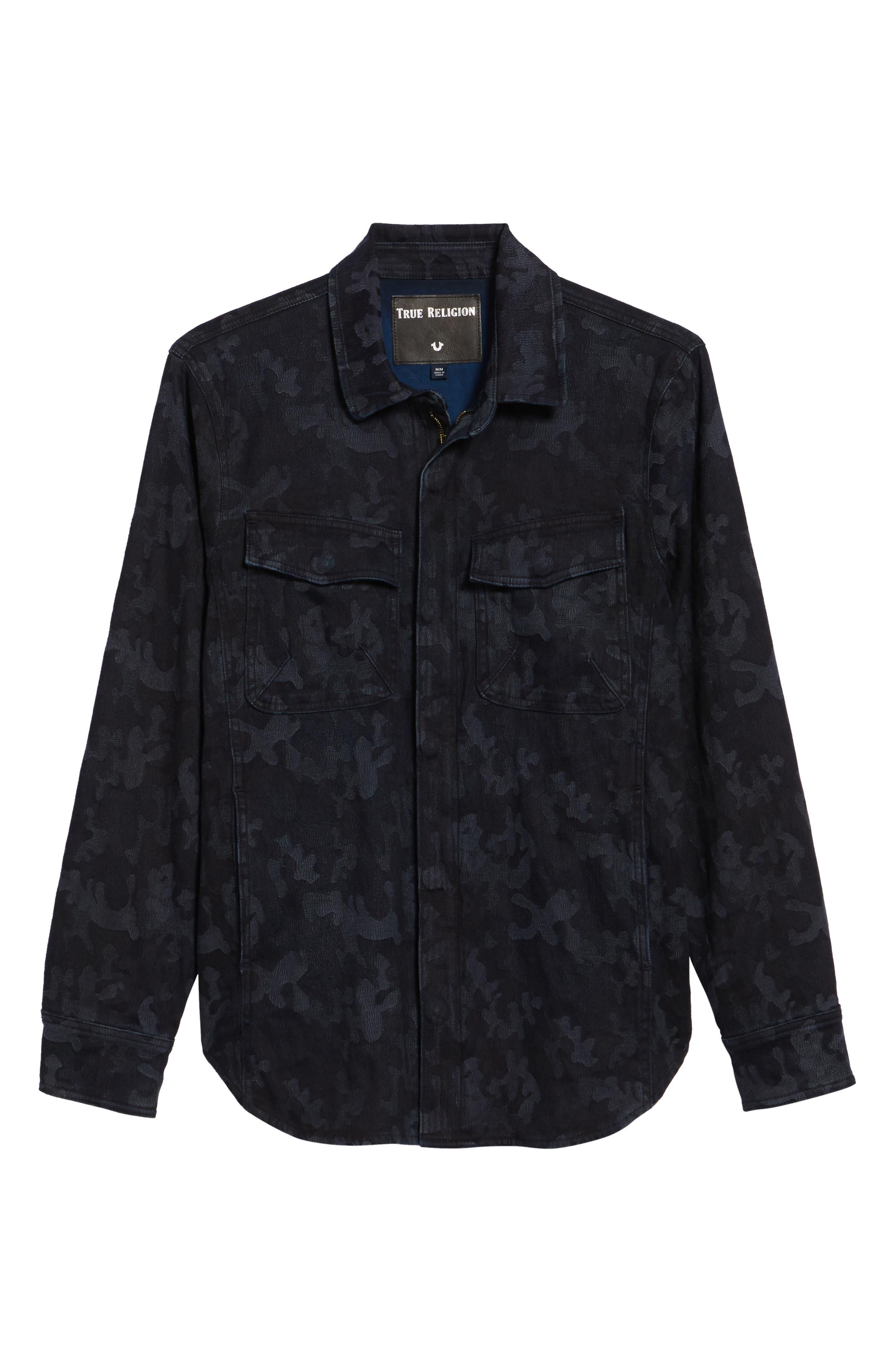 Camo Field Jacket,                             Alternate thumbnail 6, color,                             Indigo Camo