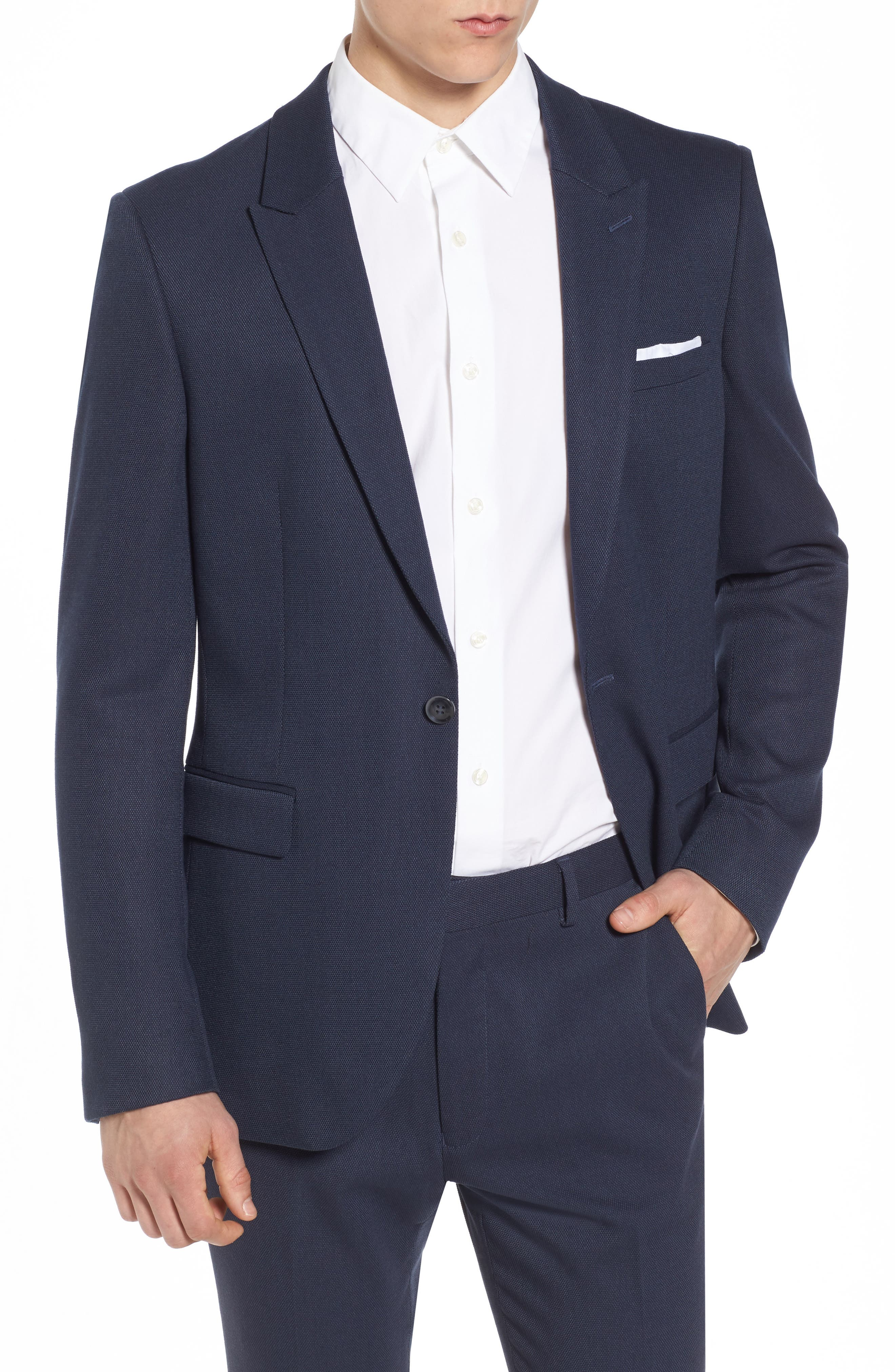 Como Skinny Fit Blazer,                         Main,                         color, Mid Blue