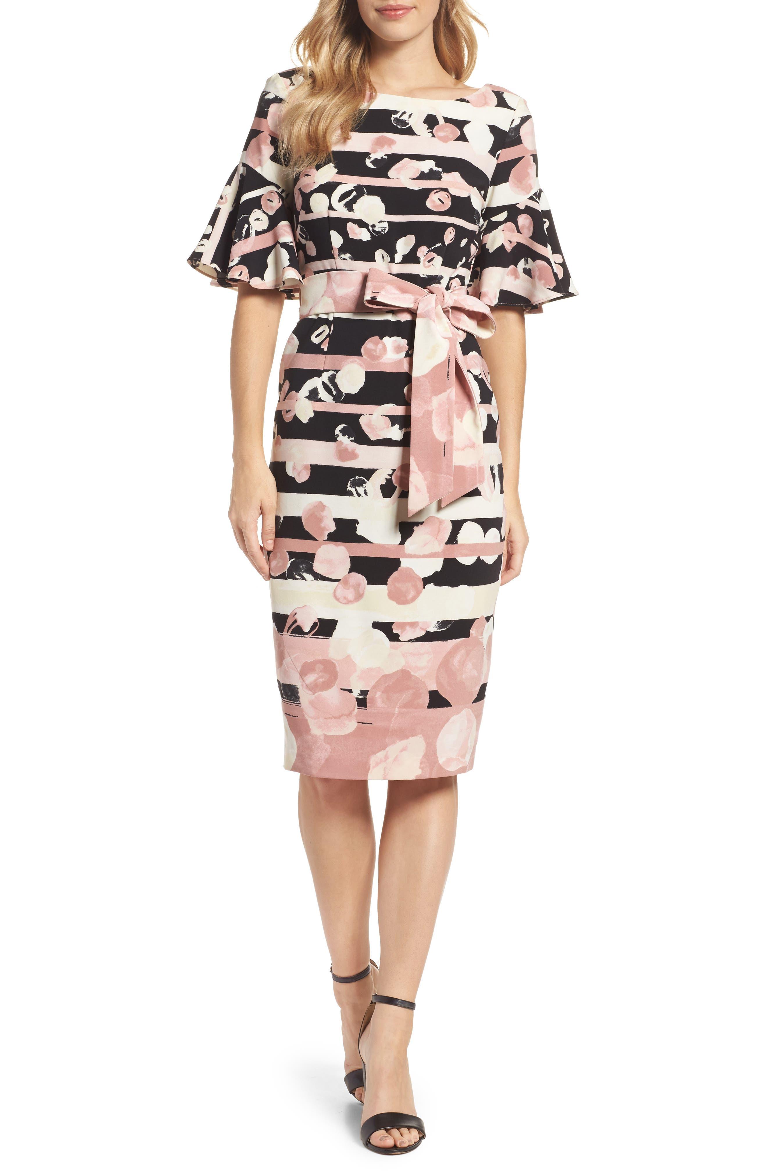 Stripe Sheath Dress,                         Main,                         color, Blush/ Ivory
