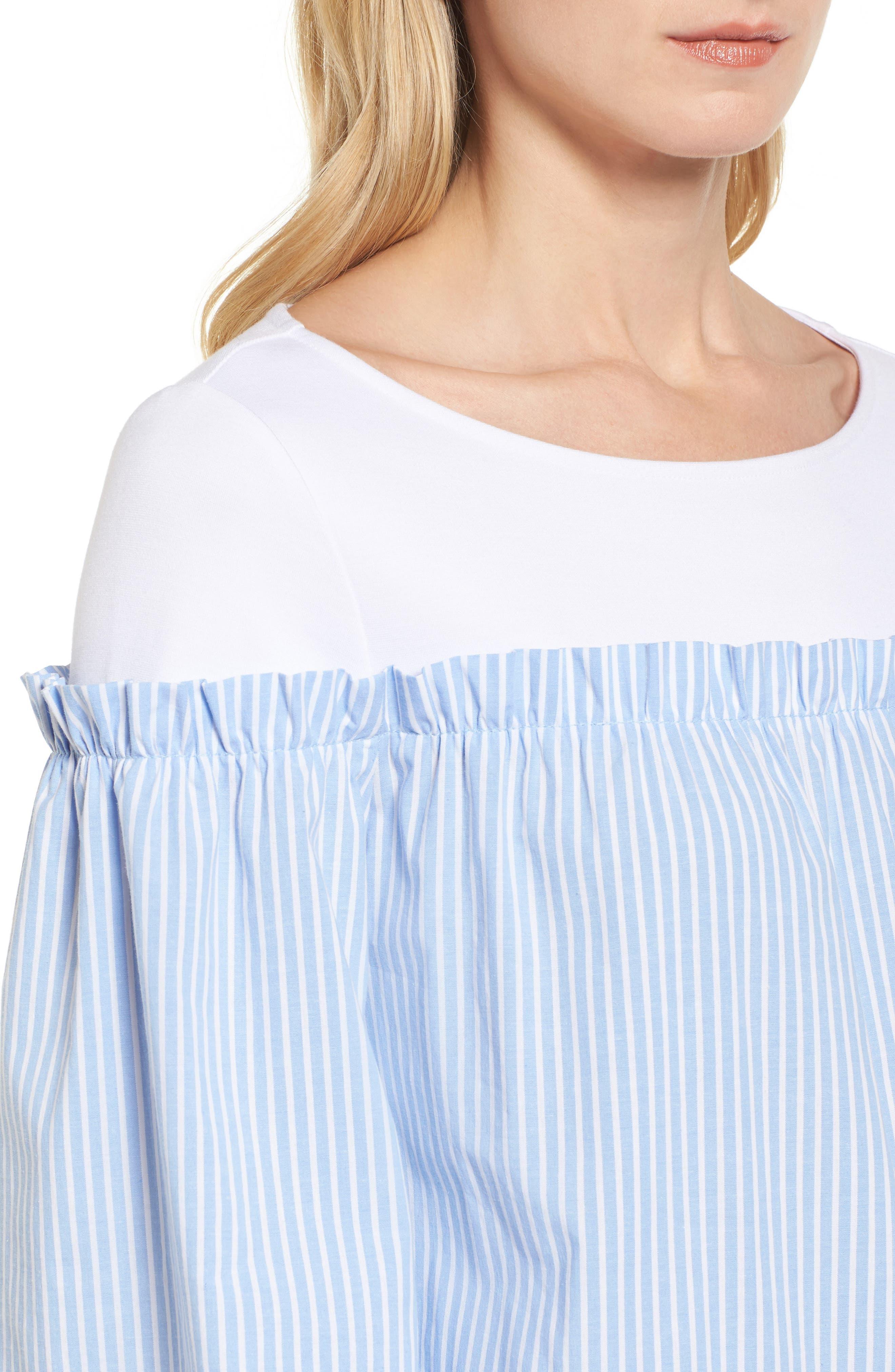 Ruffle Detail Mix Media High/Low Shirt,                             Alternate thumbnail 4, color,                             Blue- White Stripe