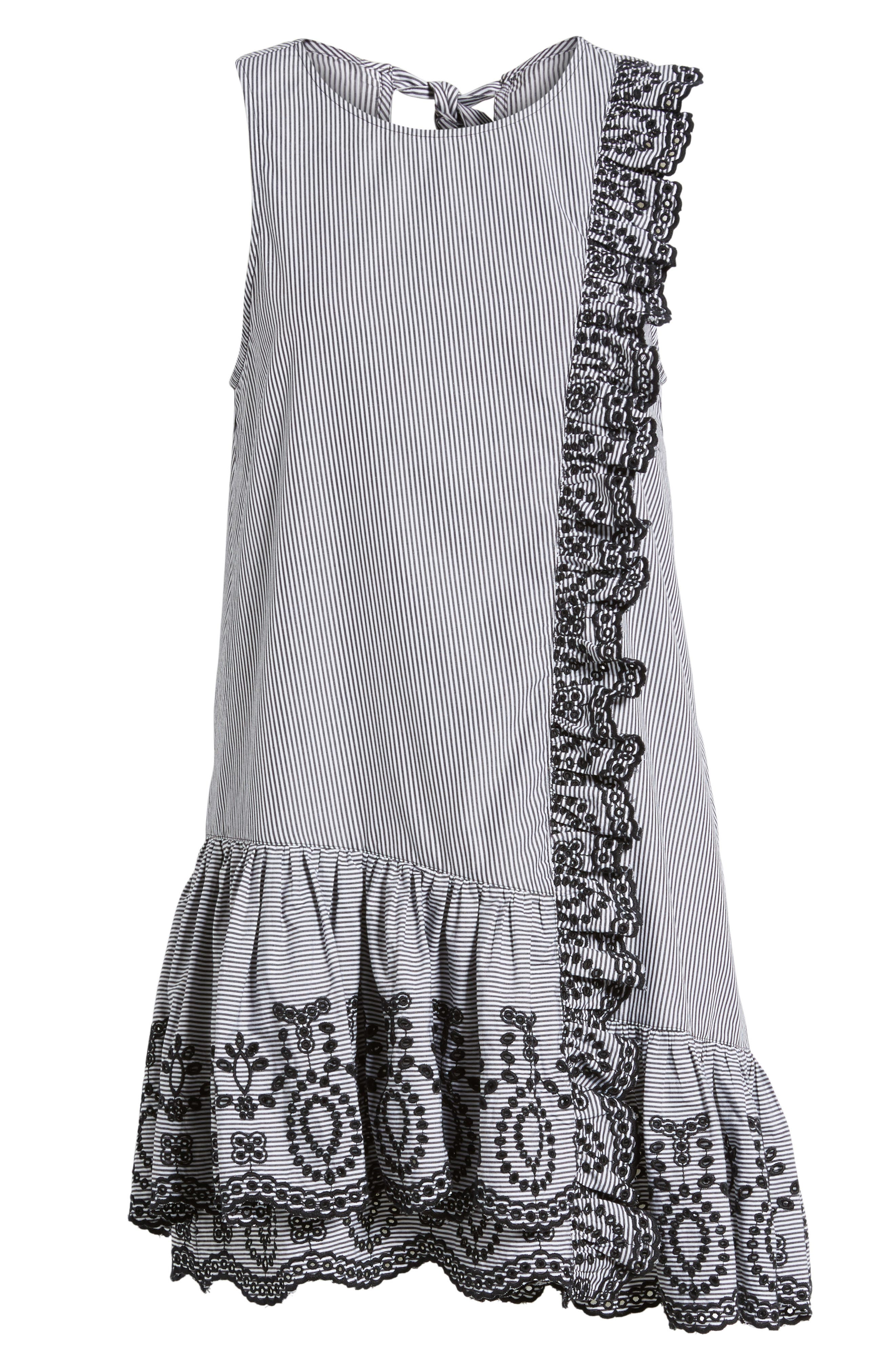 Lace Trim Drop Waist Dress,                             Alternate thumbnail 6, color,                             Black Jenny Stripe