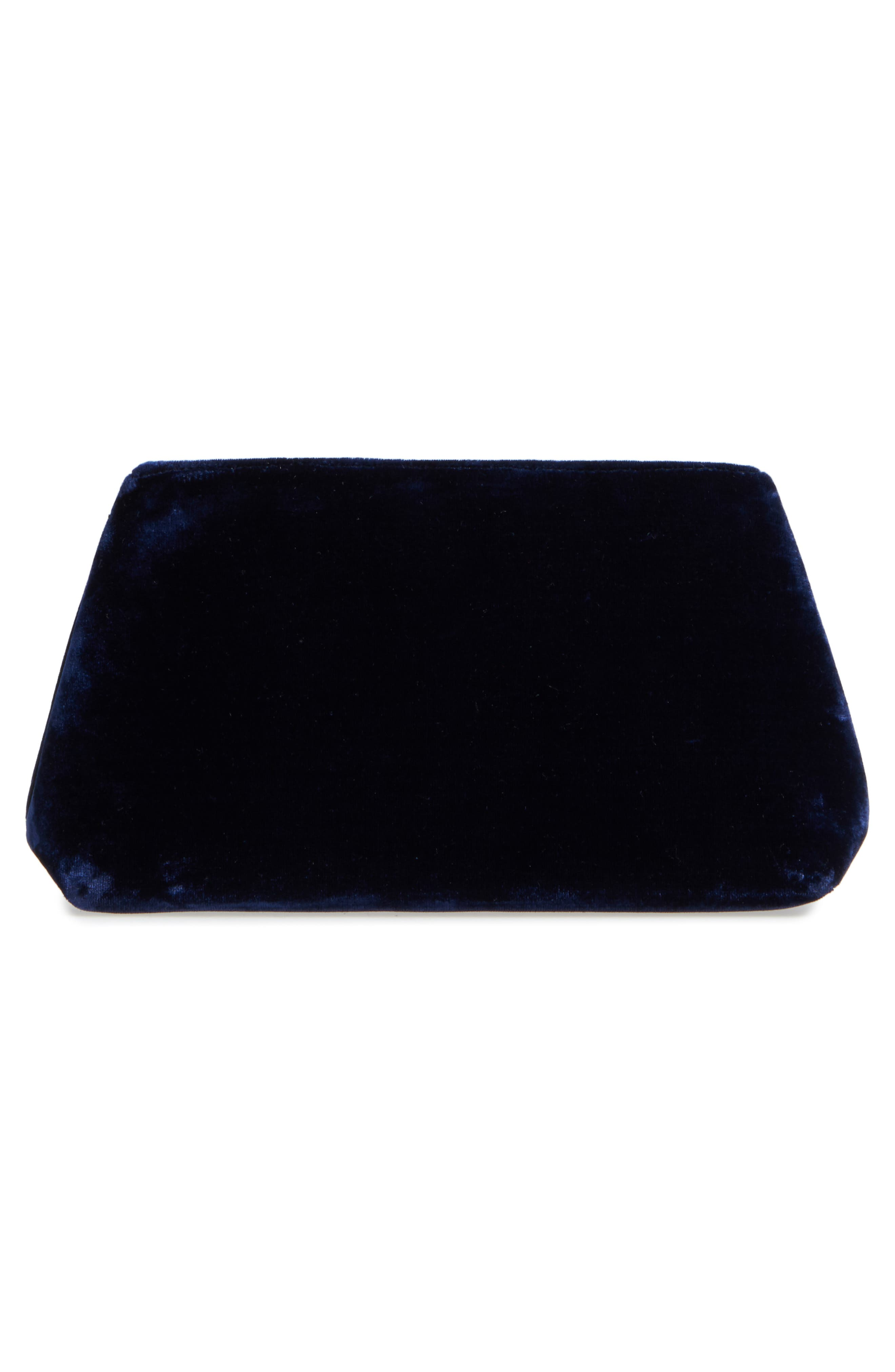 Larissa Velvet Zip Pouch,                             Alternate thumbnail 3, color,                             Midnight