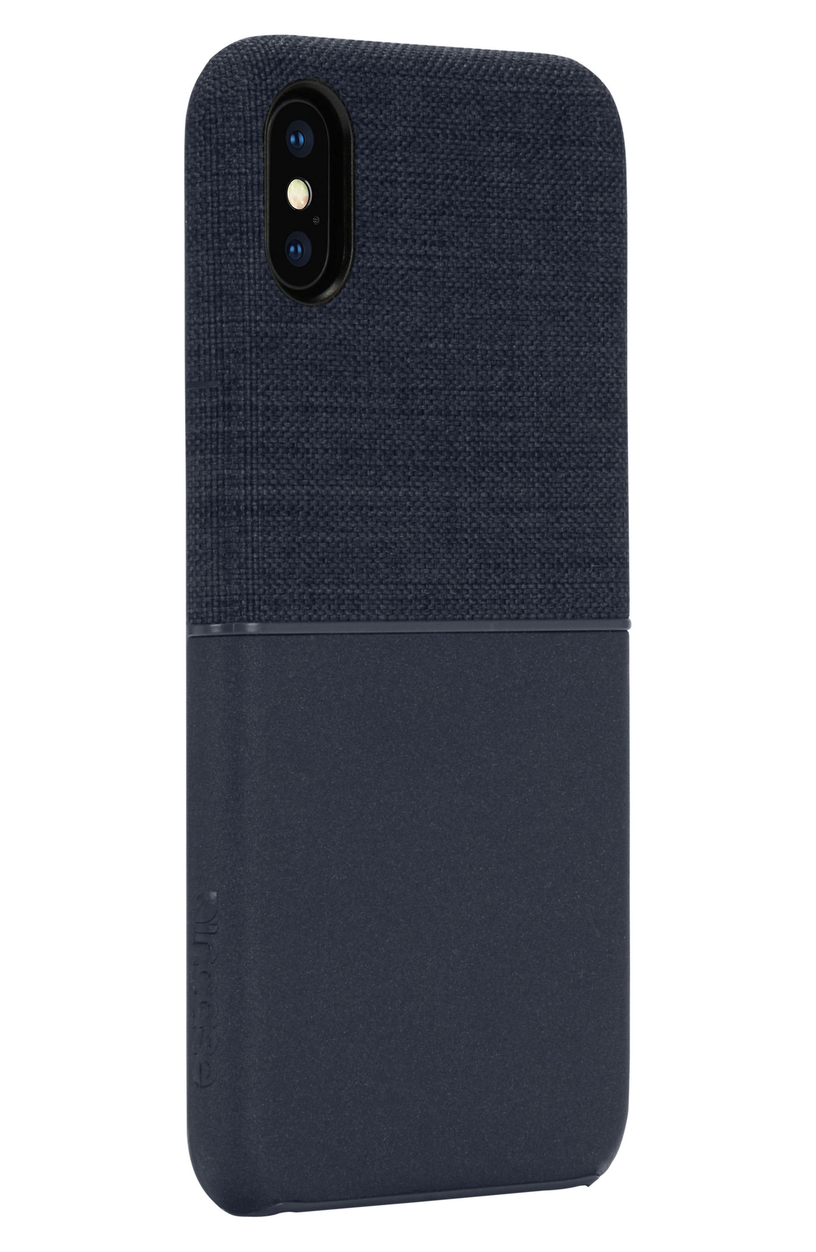 Textured Snap iPhone X Case,                             Alternate thumbnail 3, color,                             Navy